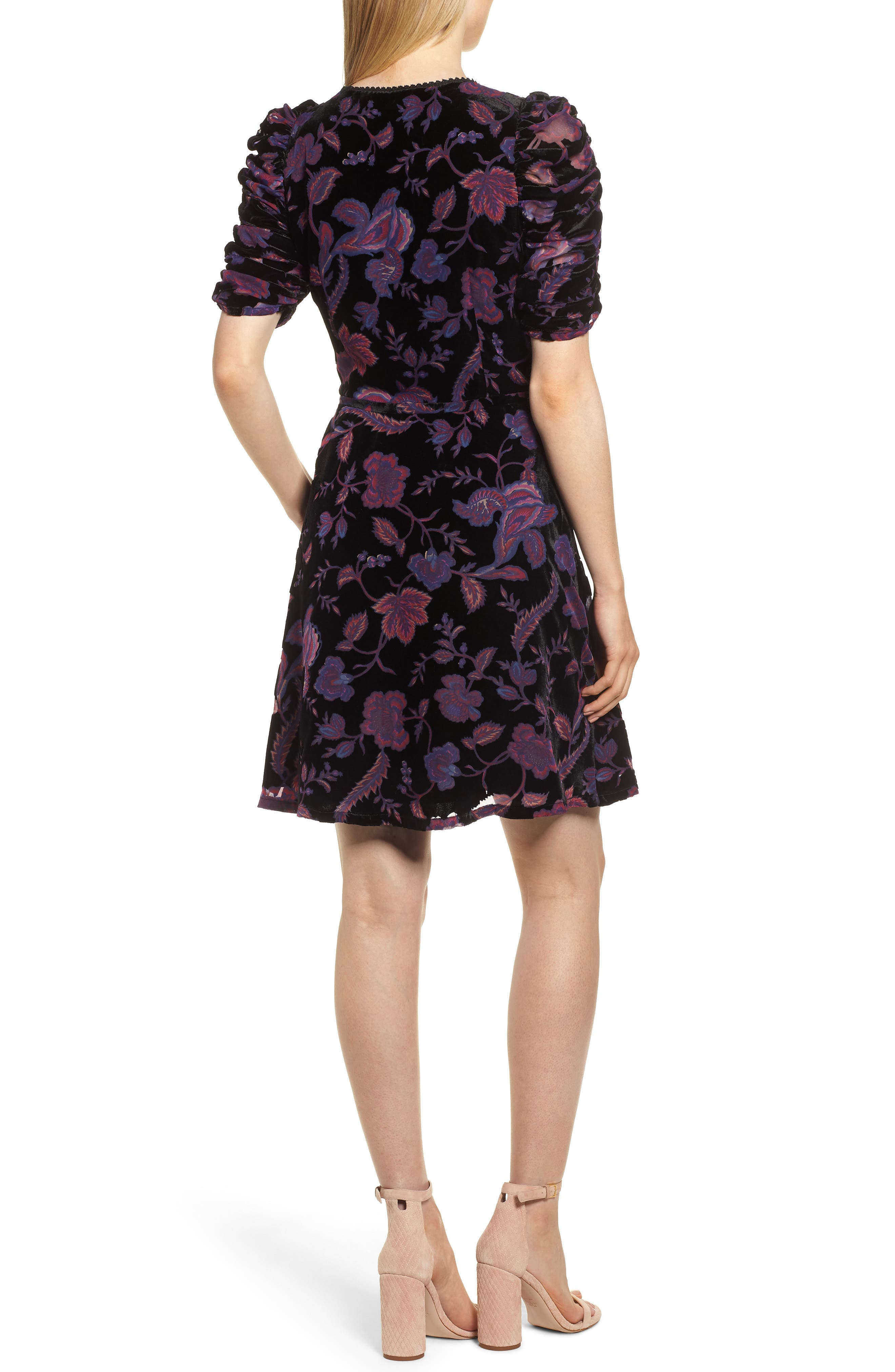 Arlette Floral Velvet Dress,                             Alternate thumbnail 2, color,                             BLACK MULTI