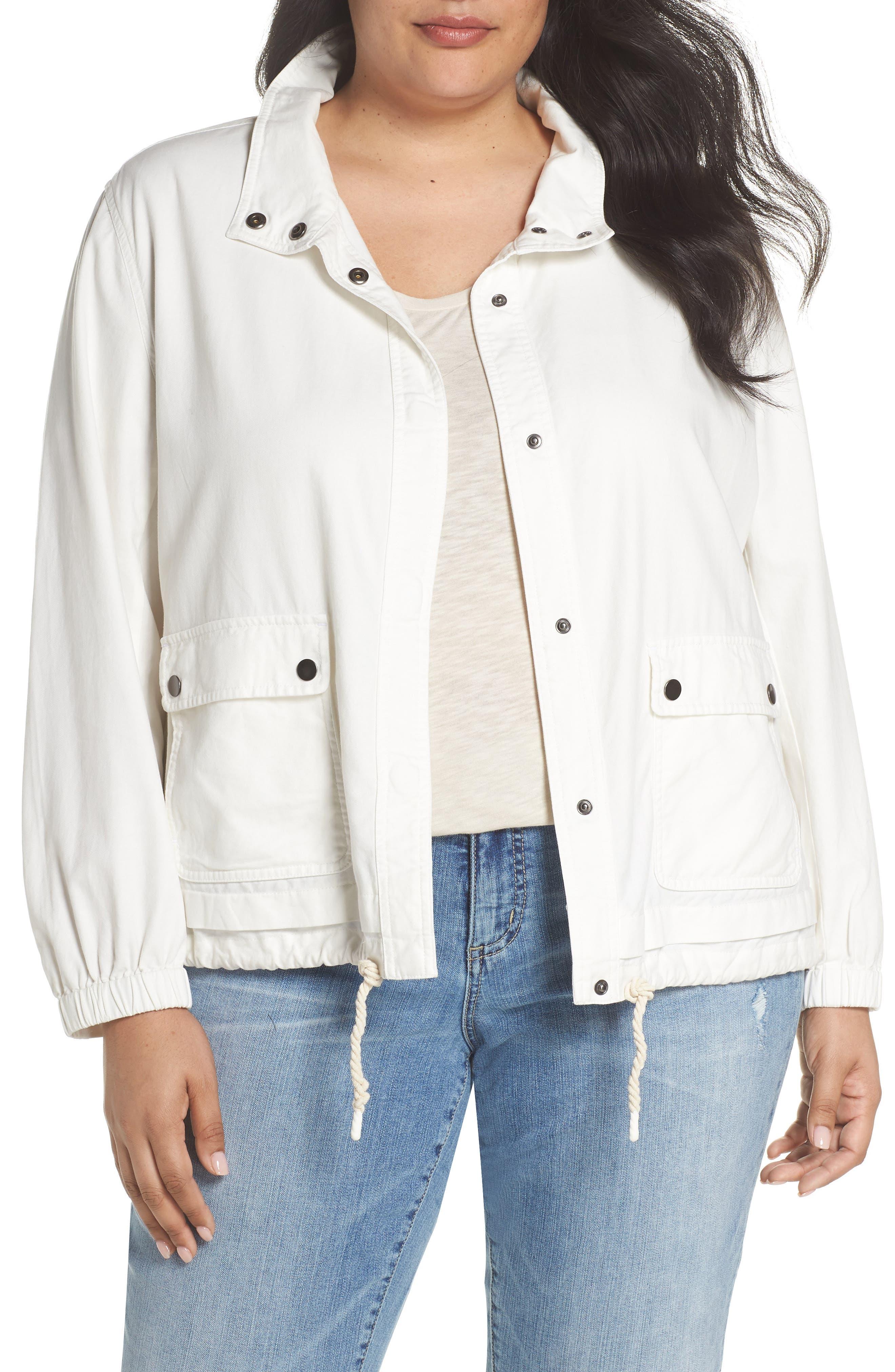 Snap Pocket Utility Jacket,                         Main,                         color, WHITE SNOW