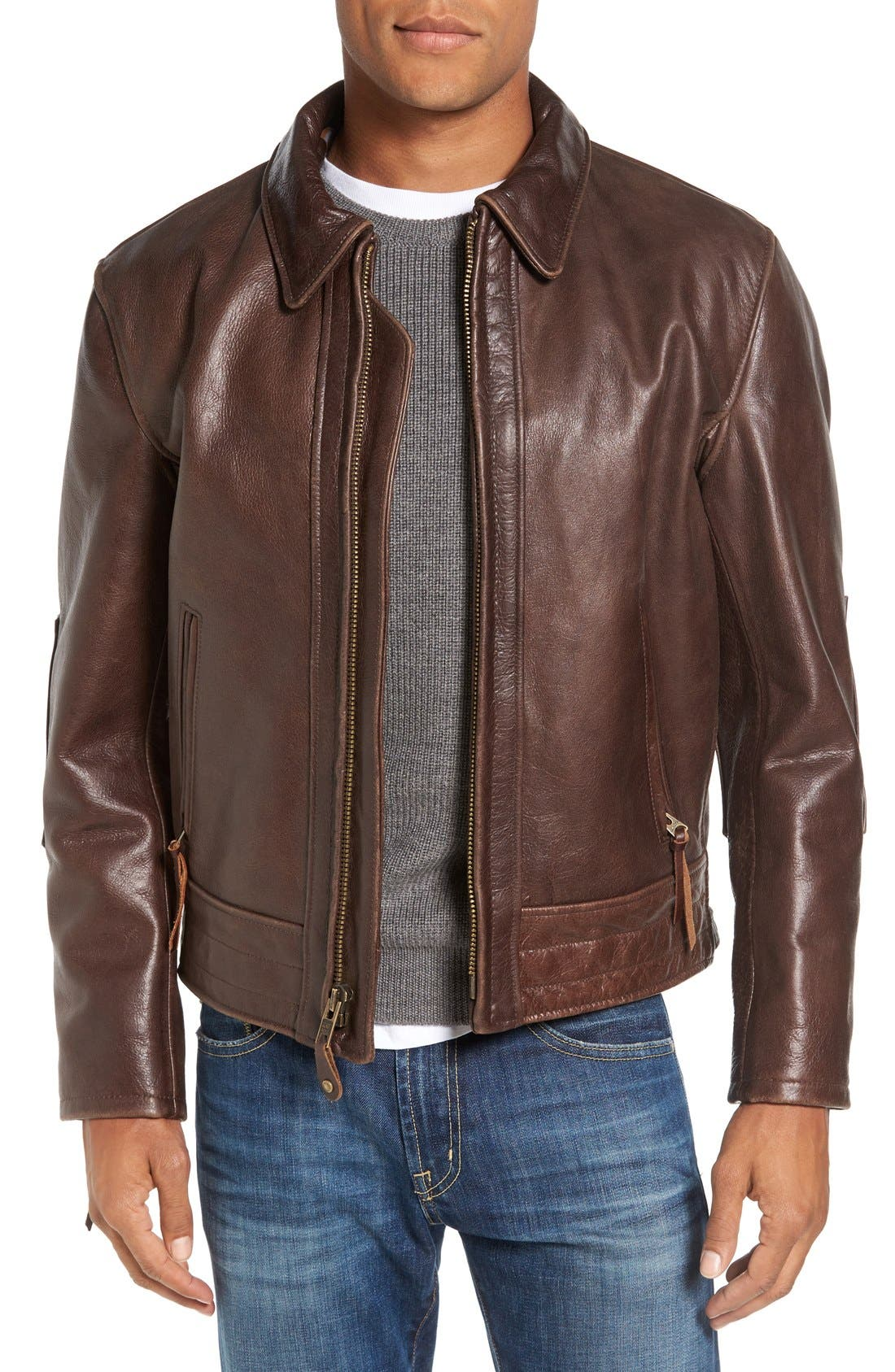 Antique Vintage Style Leather Moto Jacket,                             Main thumbnail 1, color,                             200