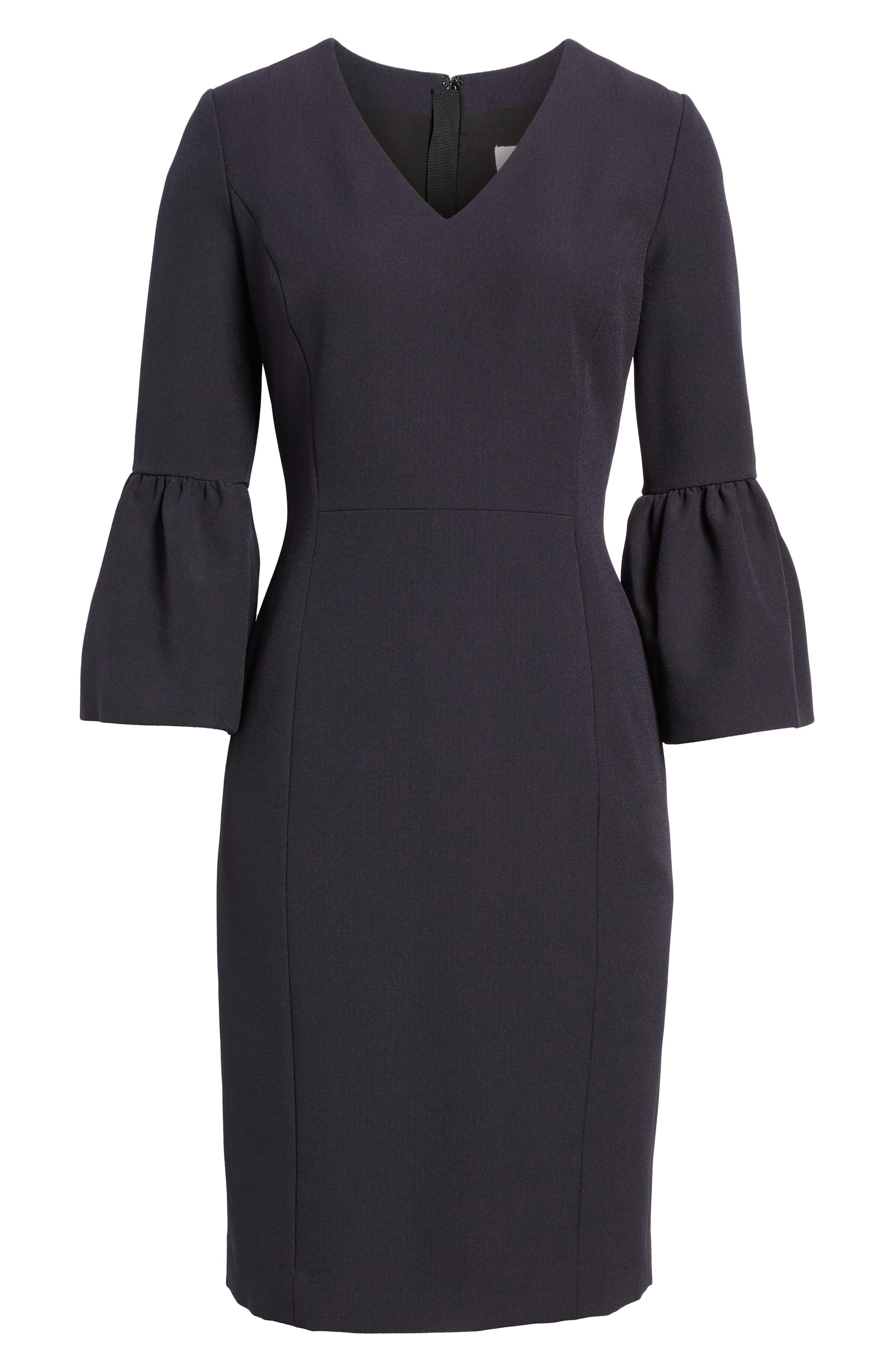 Bell Sleeve Sheath Dress,                             Alternate thumbnail 6, color,                             001