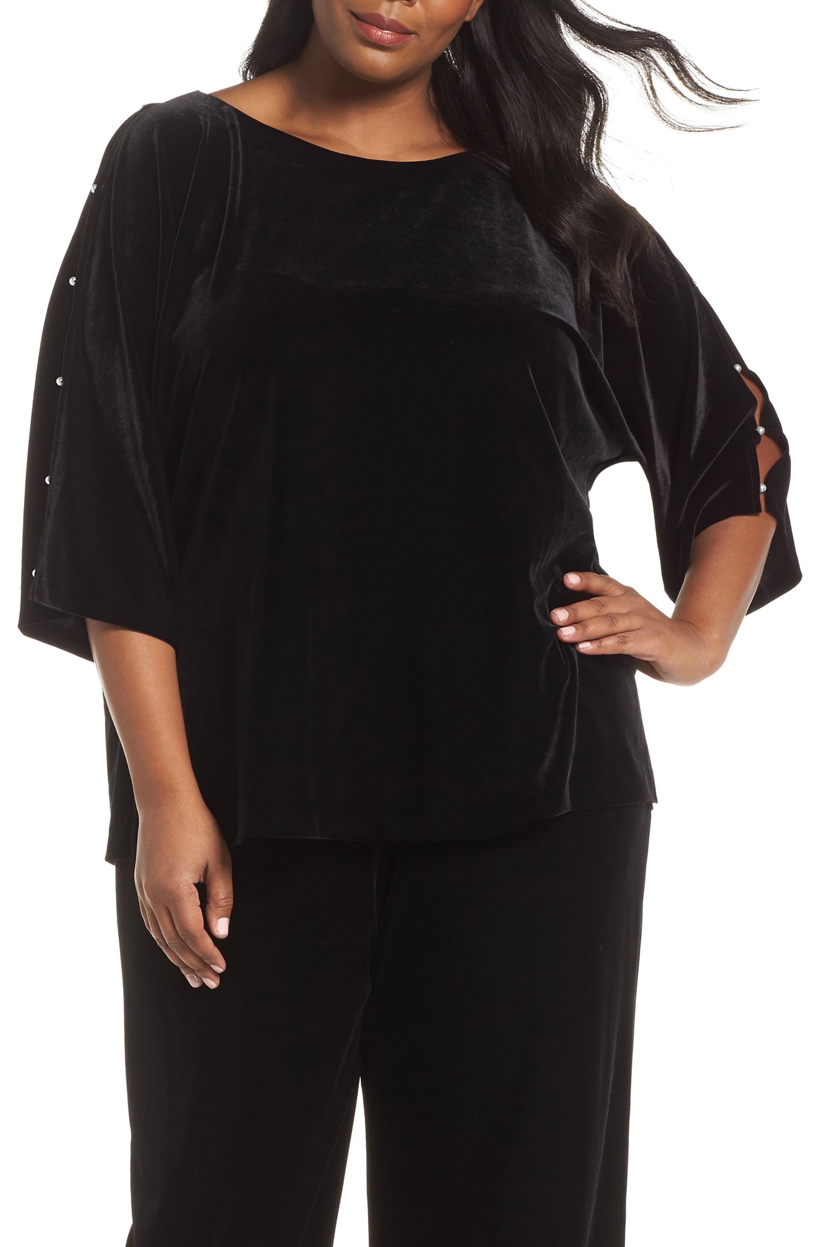 Embellished Split Sleeve Velvet Tunic, Main, color, 001