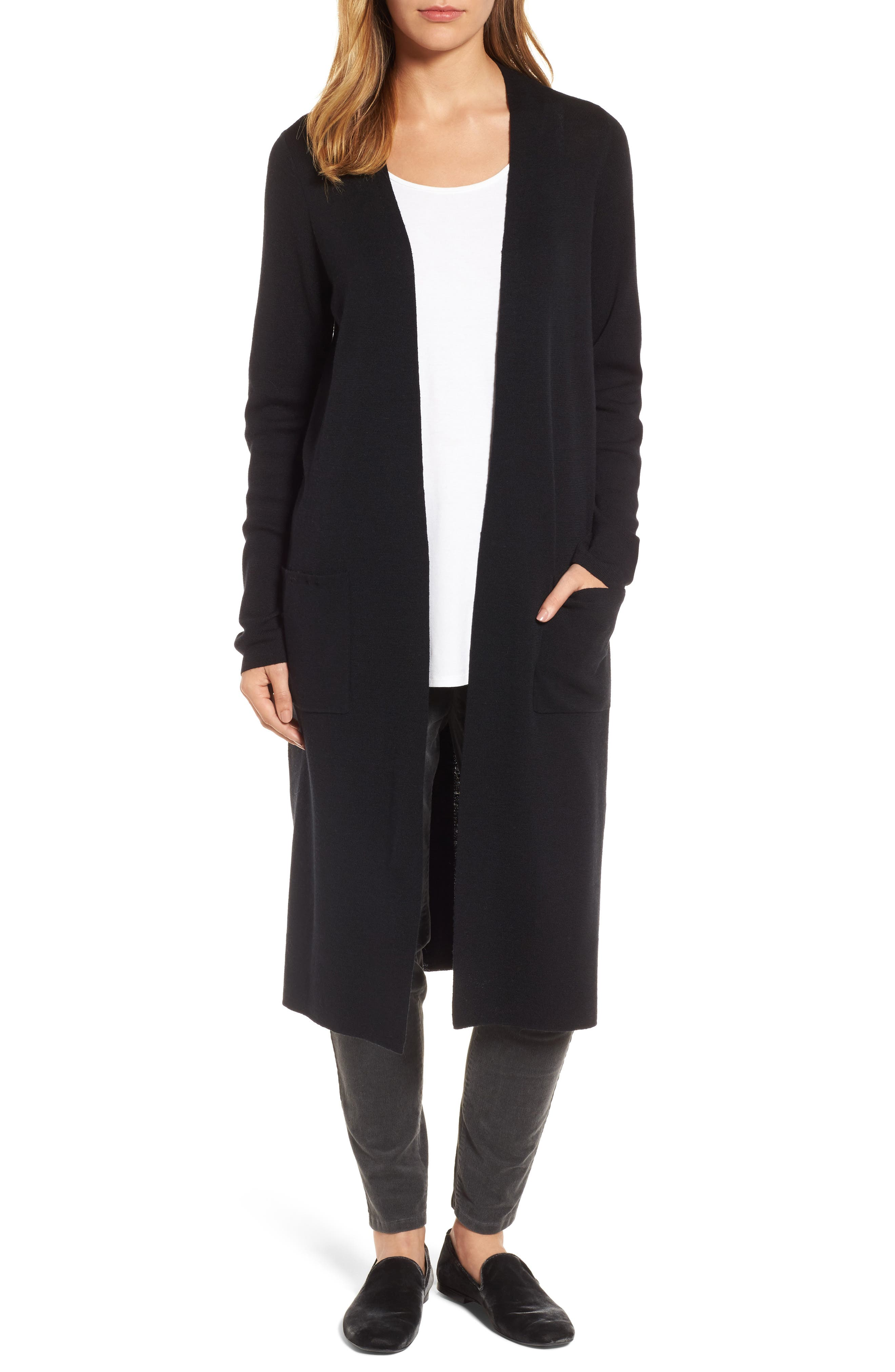 Long Merino Wool Cardigan,                             Main thumbnail 1, color,                             001