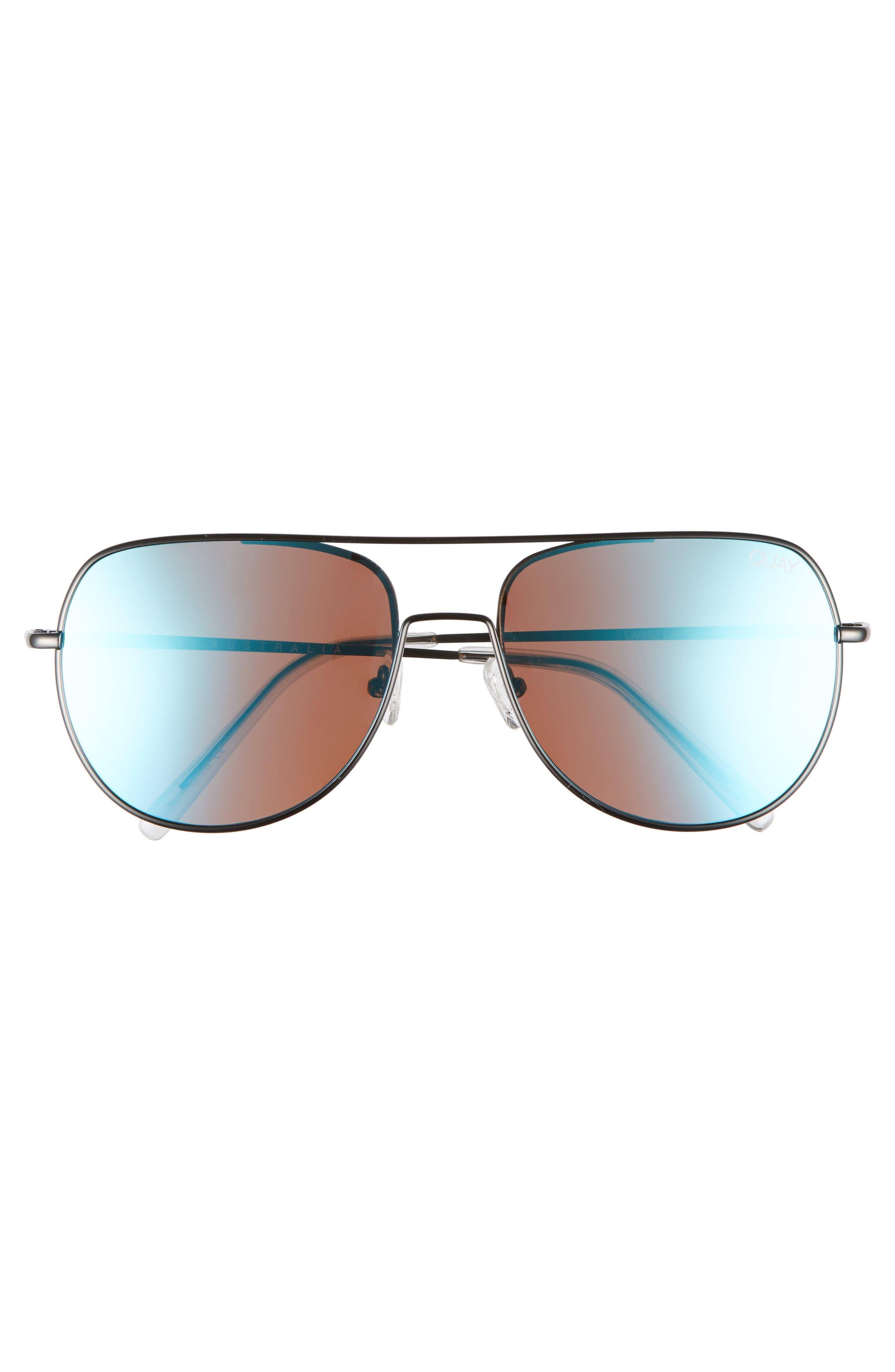 Living Large 58mm Aviator Sunglasses,                             Alternate thumbnail 2, color,                             DARK GREY/BLUE