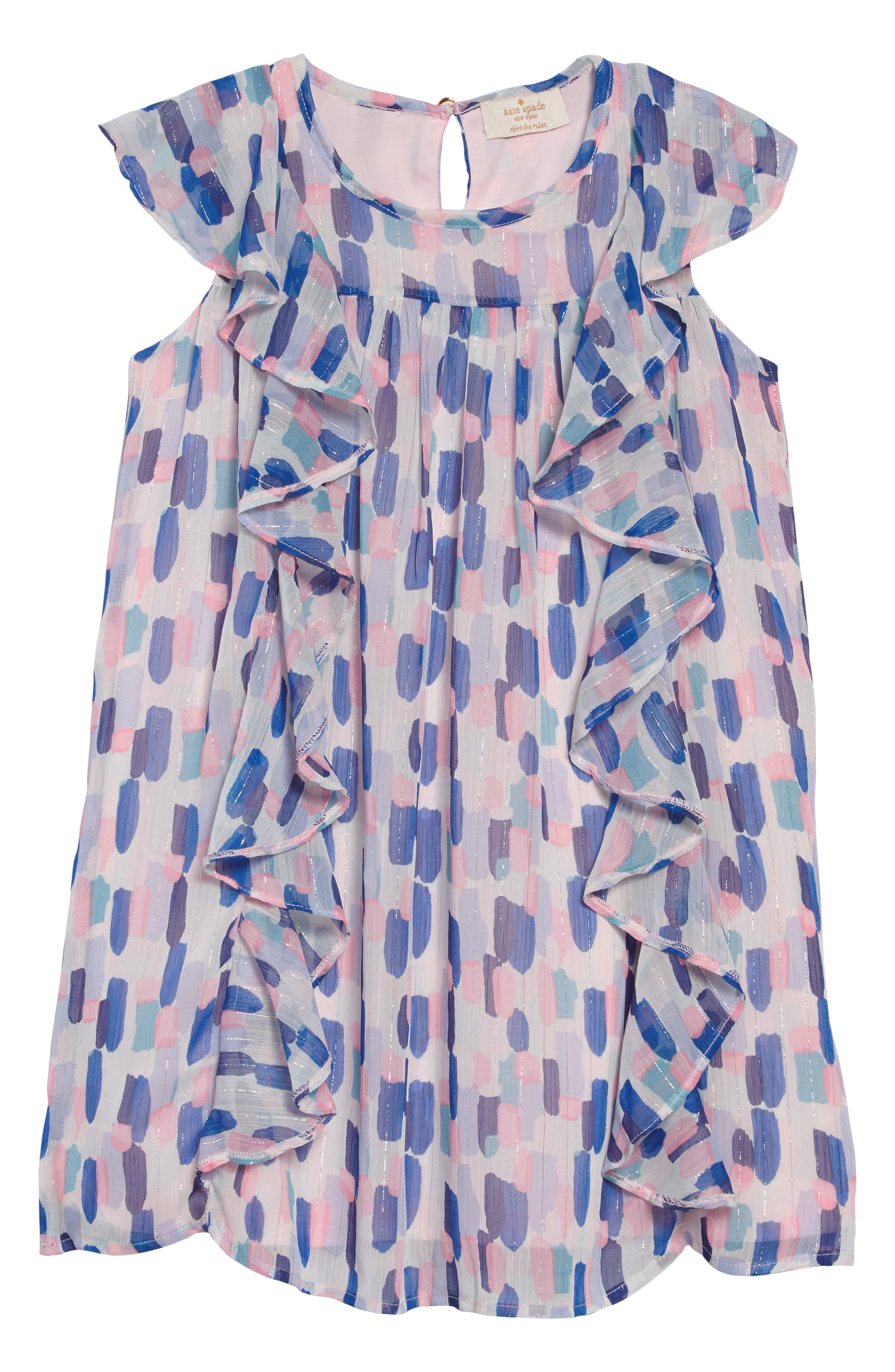 brush strokes ruffle dress,                             Main thumbnail 1, color,                             BRUSH STROKES