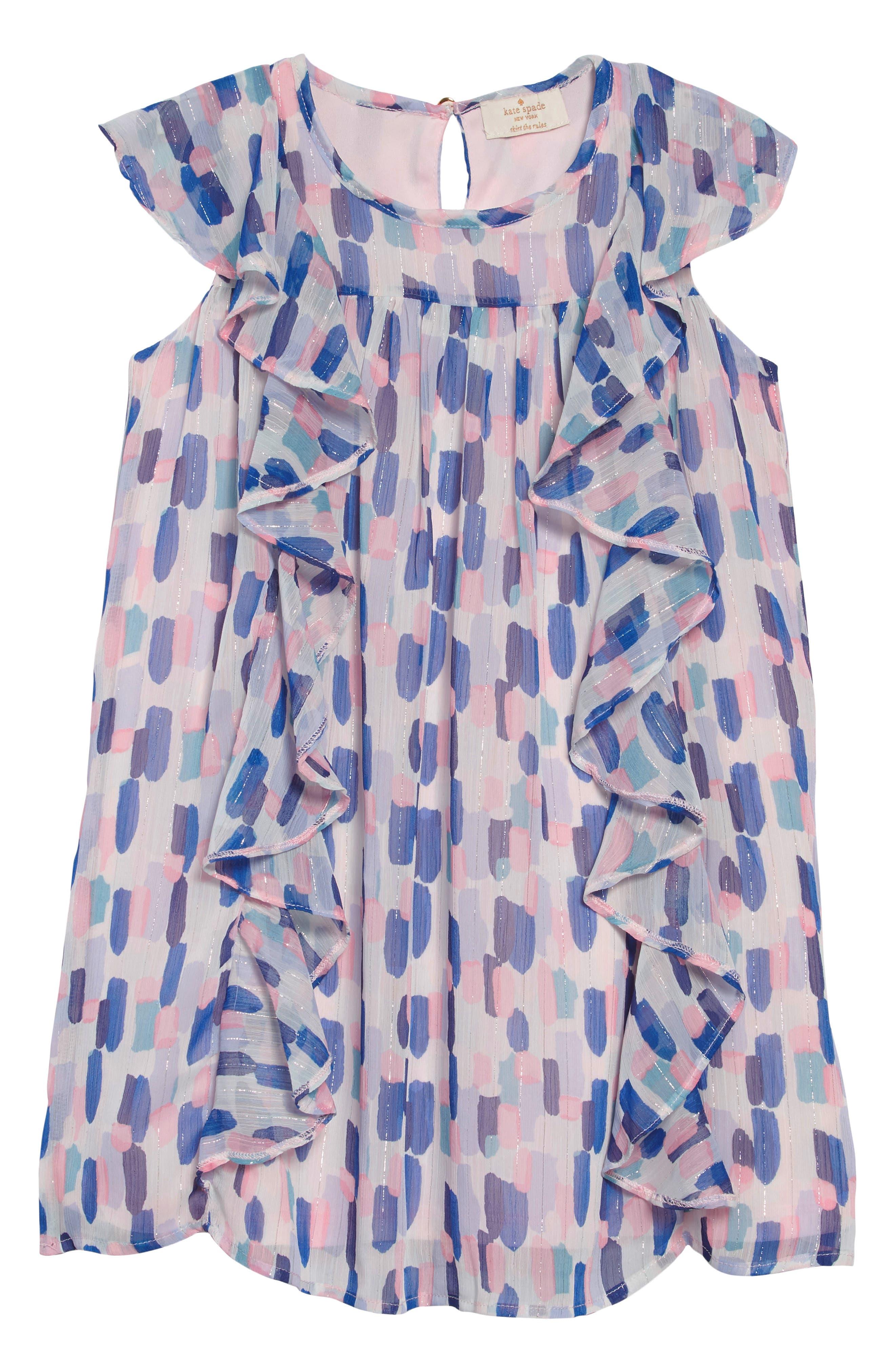 brush strokes ruffle dress,                         Main,                         color, BRUSH STROKES