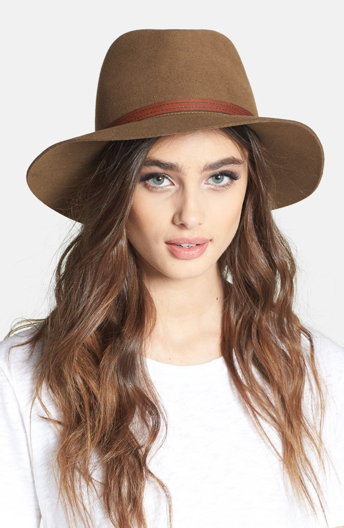 Floppy Brim Felted Wool Fedora, Main, color, PECAN