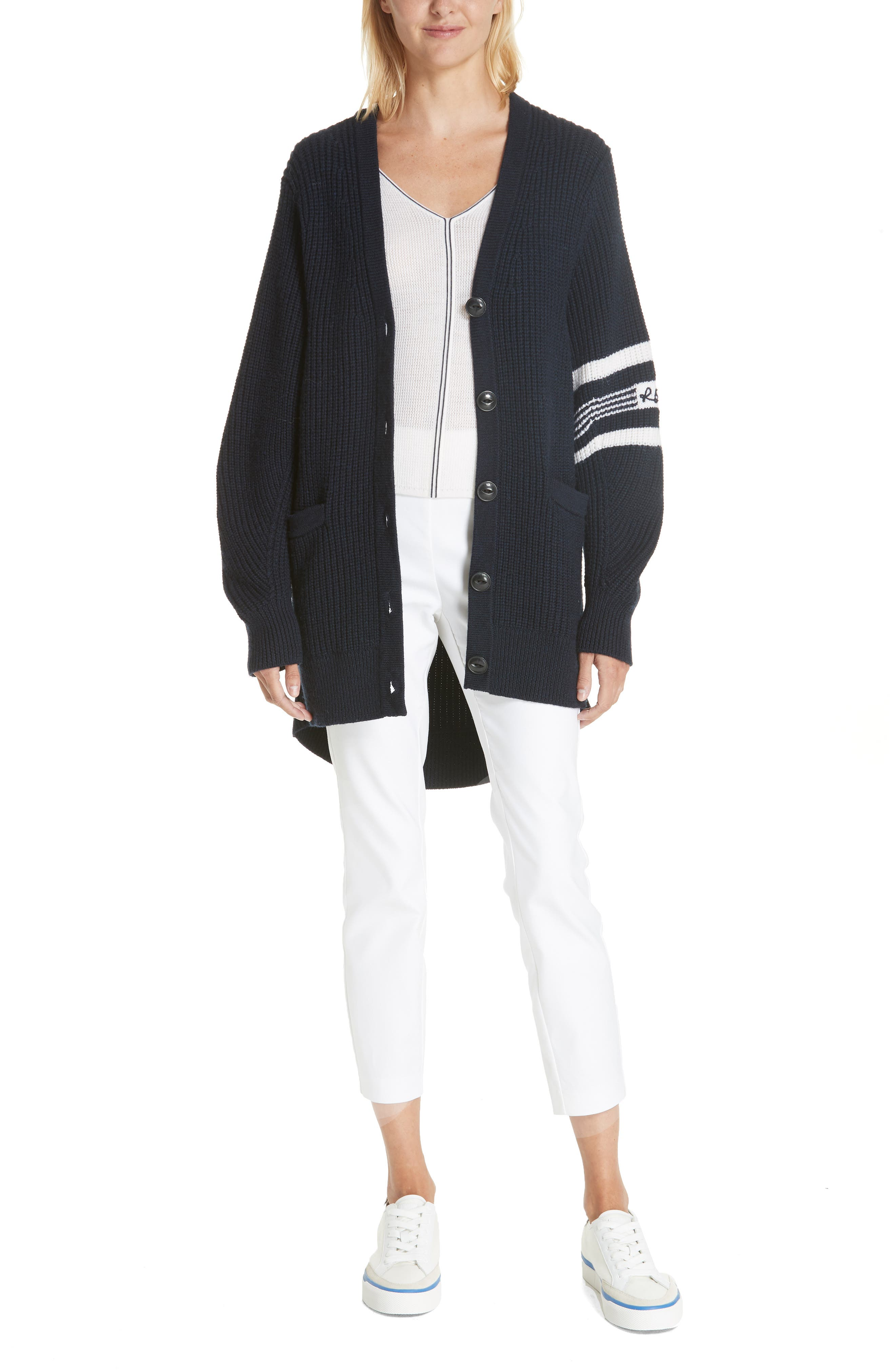 Rag & Bone Lavinia Stripe Seam Merino Wool Sweater, Ivory