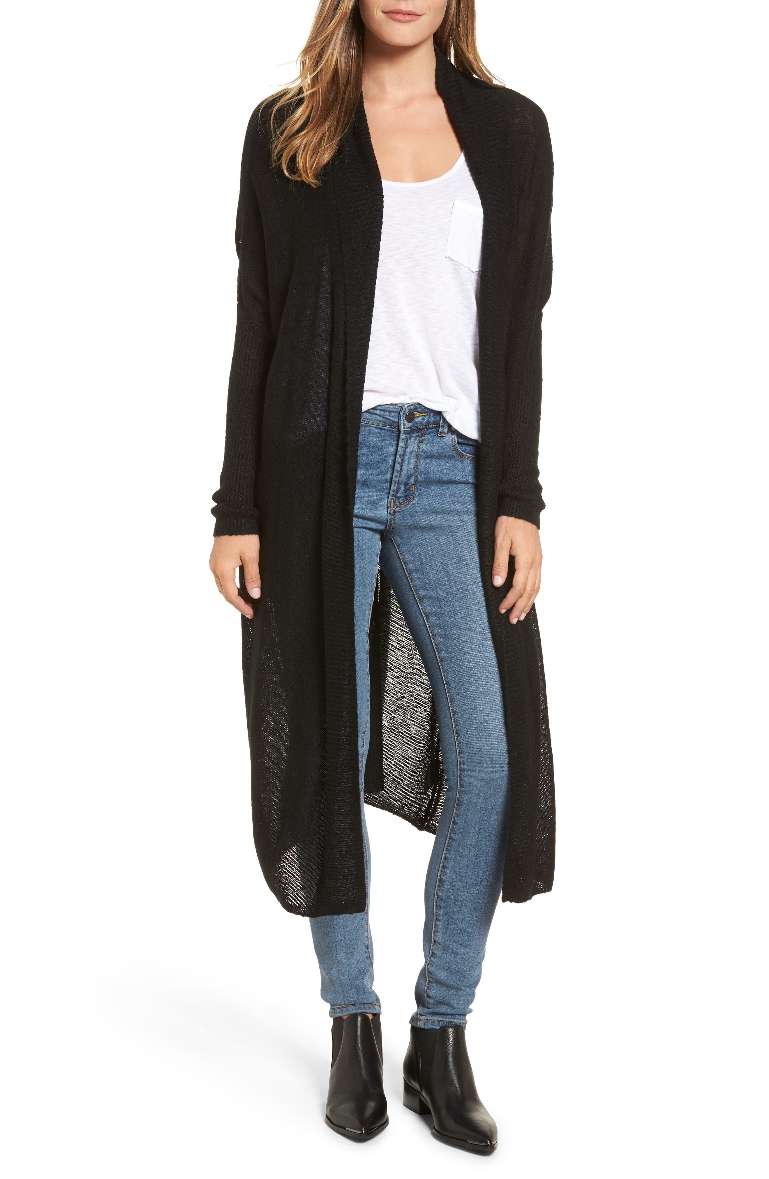 Tissue Knit Longline Cardigan,                         Main,                         color, 001