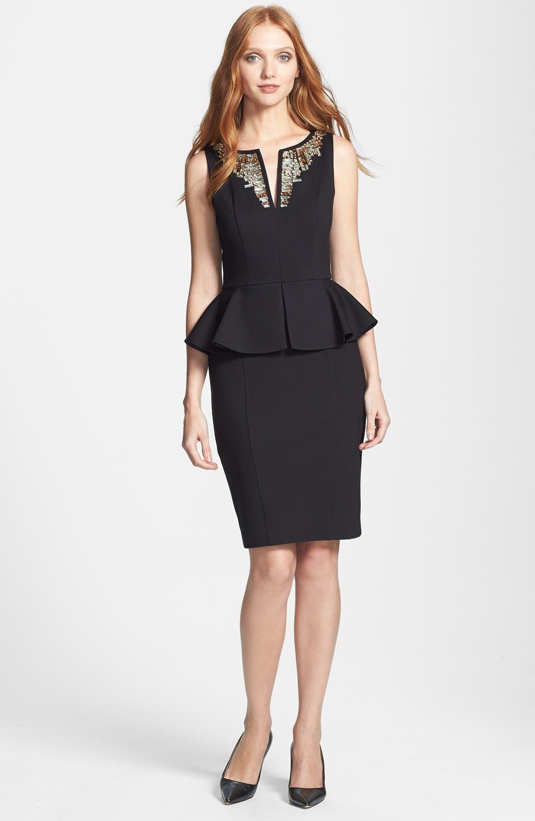 'Fernola' Embellished Peplum Ponte Sheath Dress, Main, color, 001