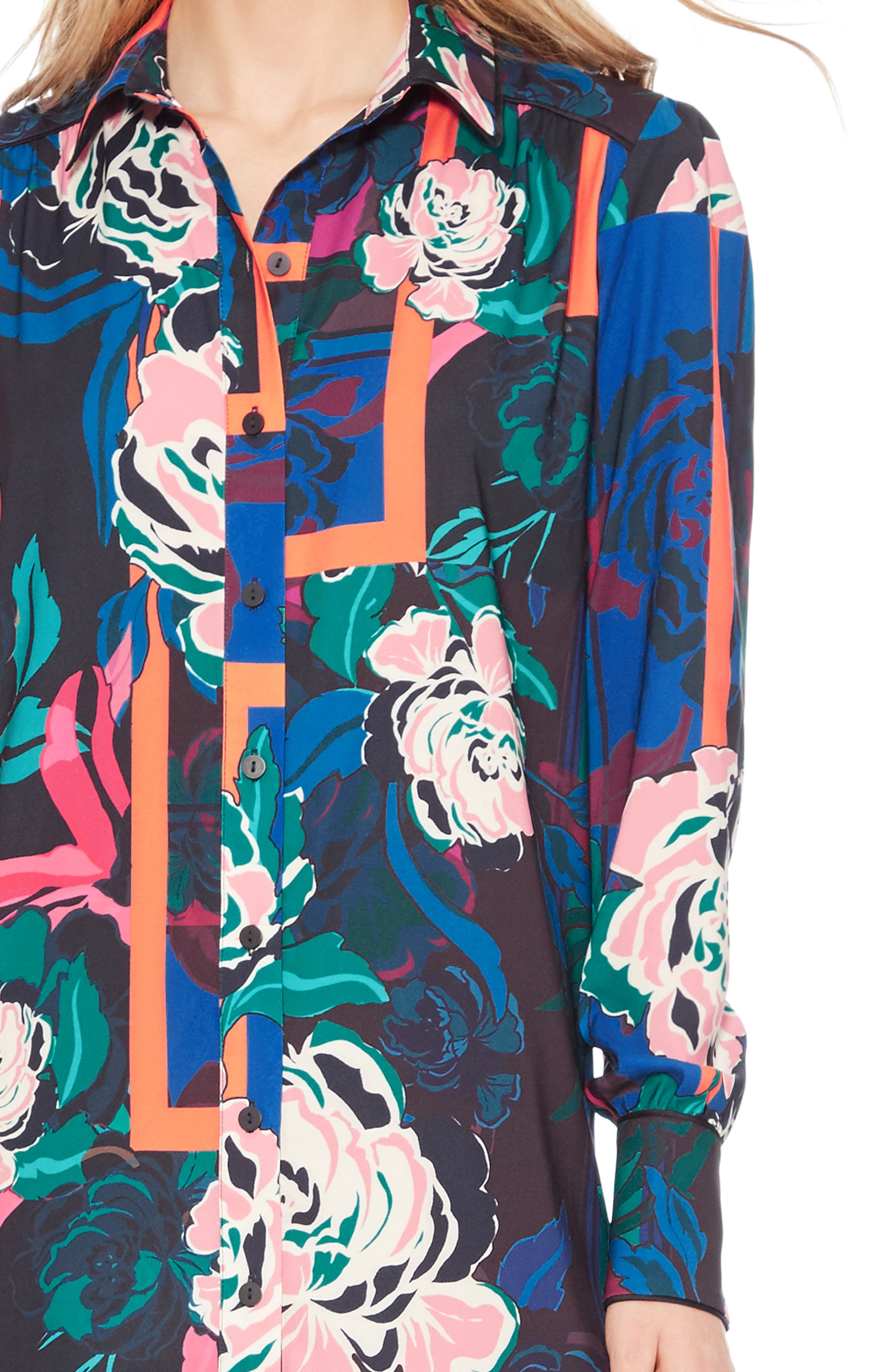 Norma Floral Print Shirtdress,                             Alternate thumbnail 4, color,                             IRVING ROSE