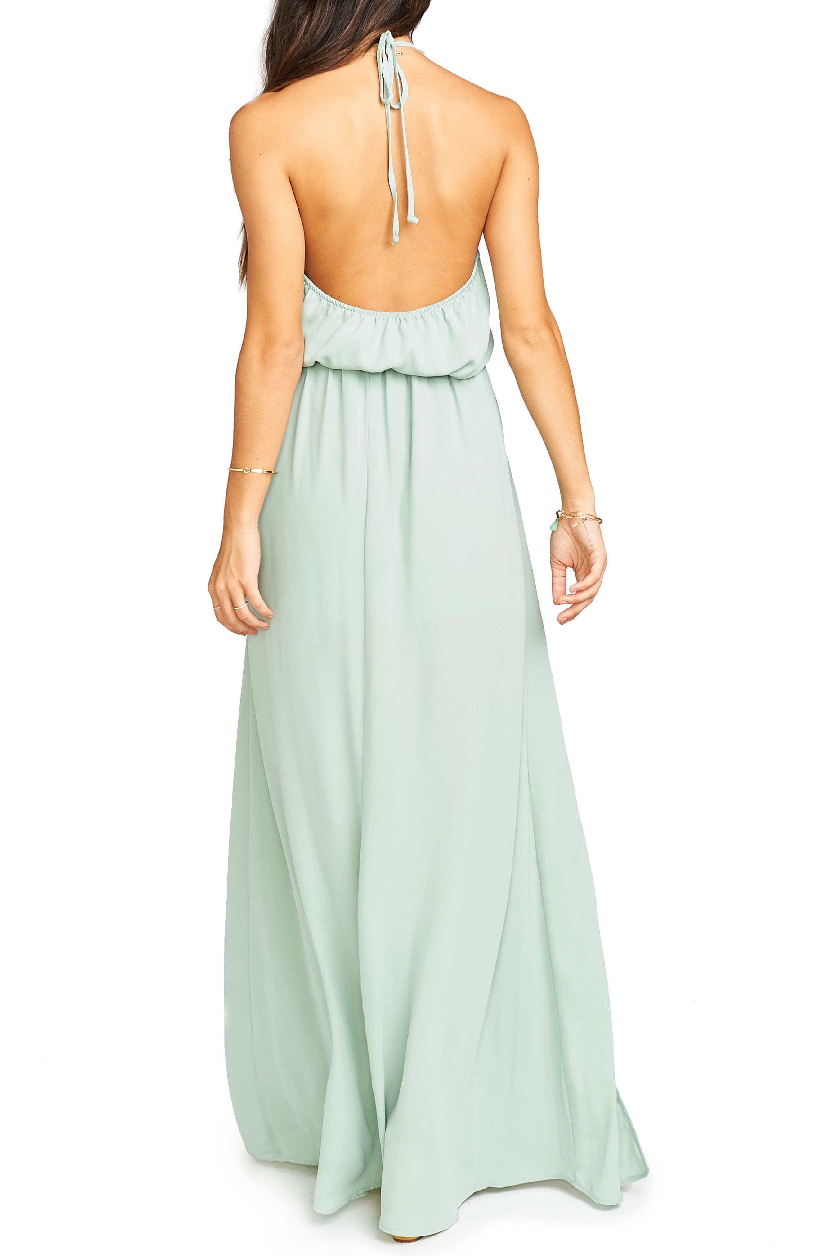 Heather Chiffon Halter Gown,                             Alternate thumbnail 32, color,