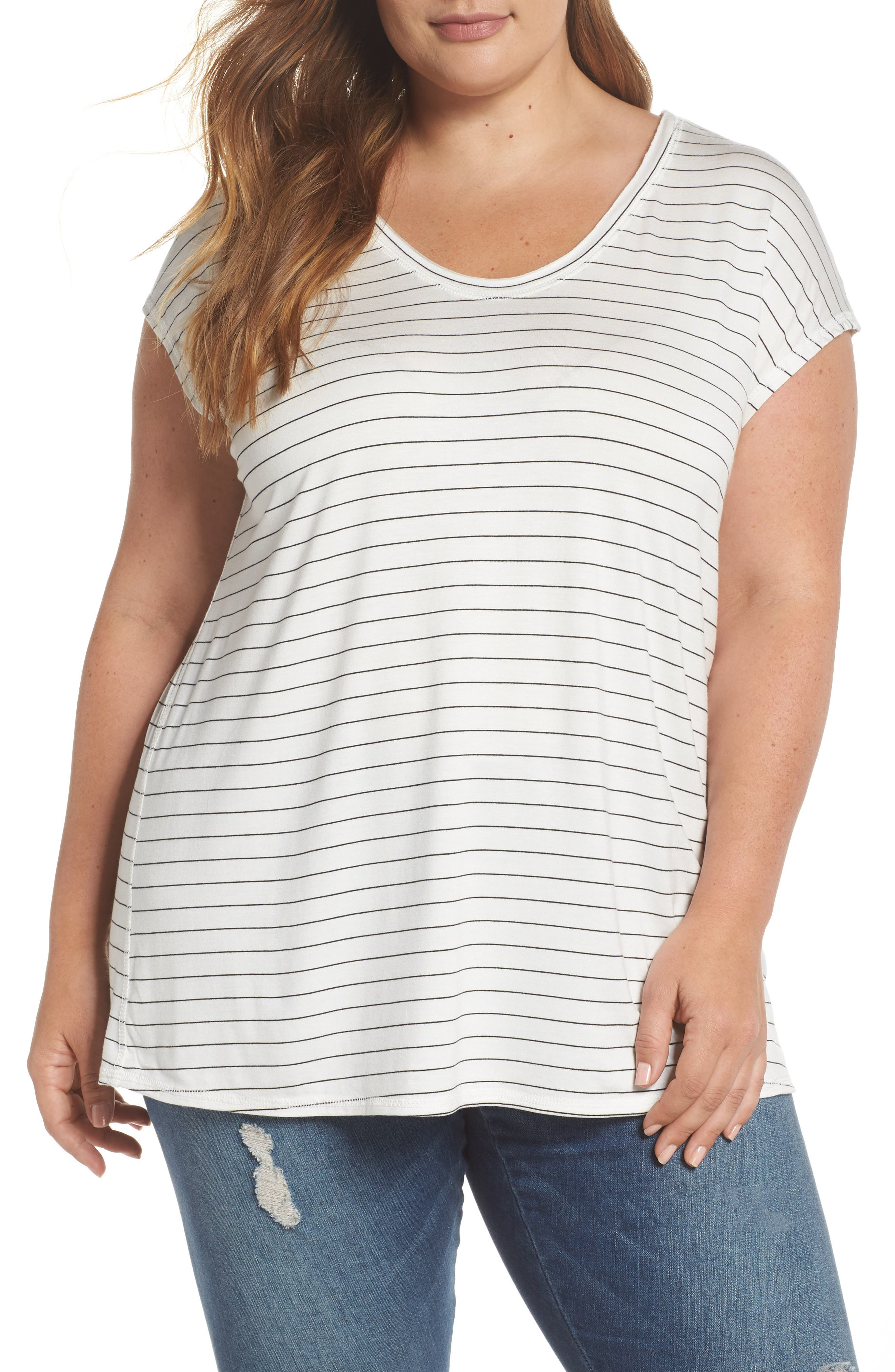 Off-Duty Stretch Knit Top,                             Main thumbnail 1, color,                             001