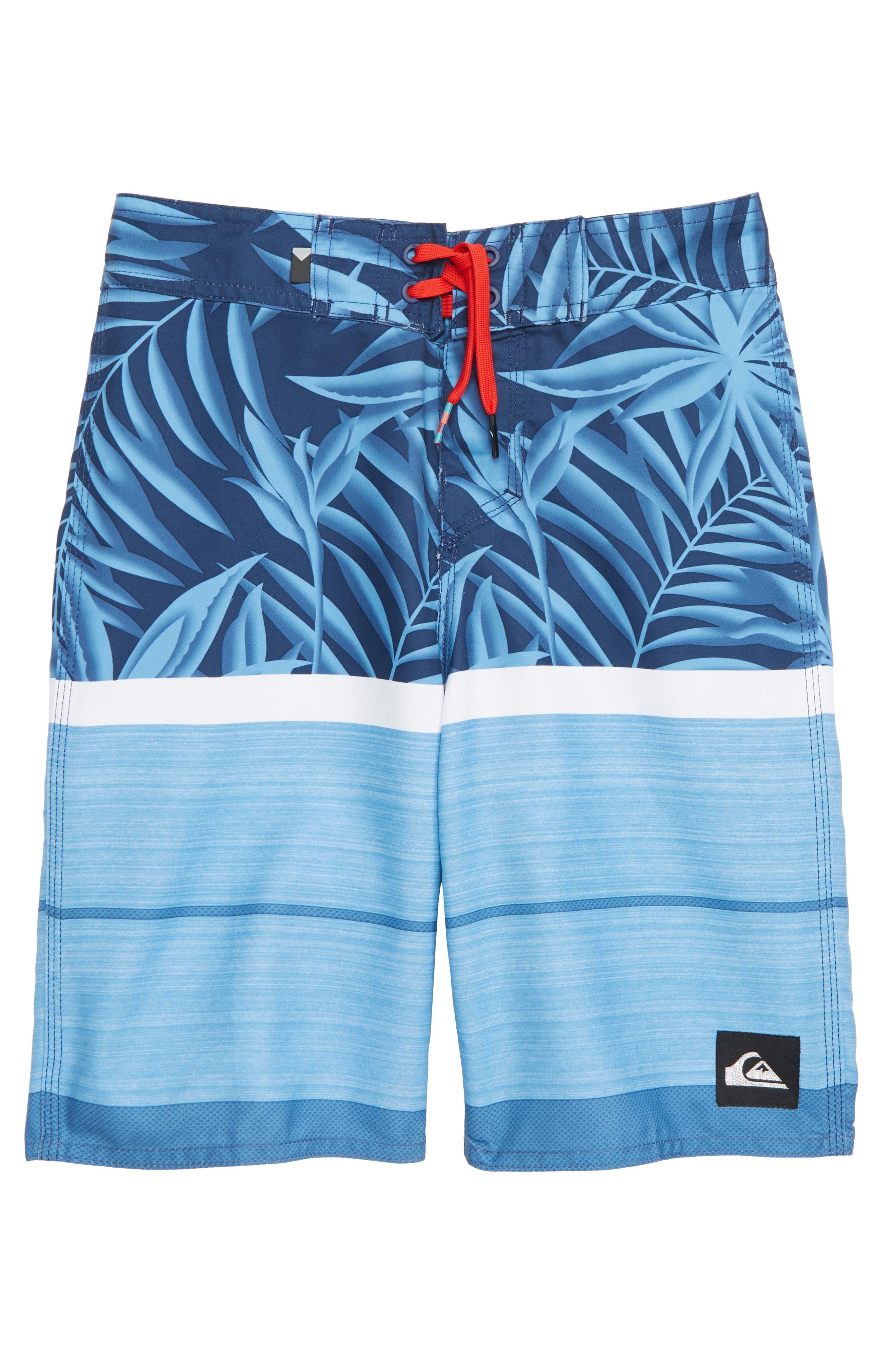 Slab Island Print Board Shorts,                         Main,                         color, MEDIEVEL BLUE