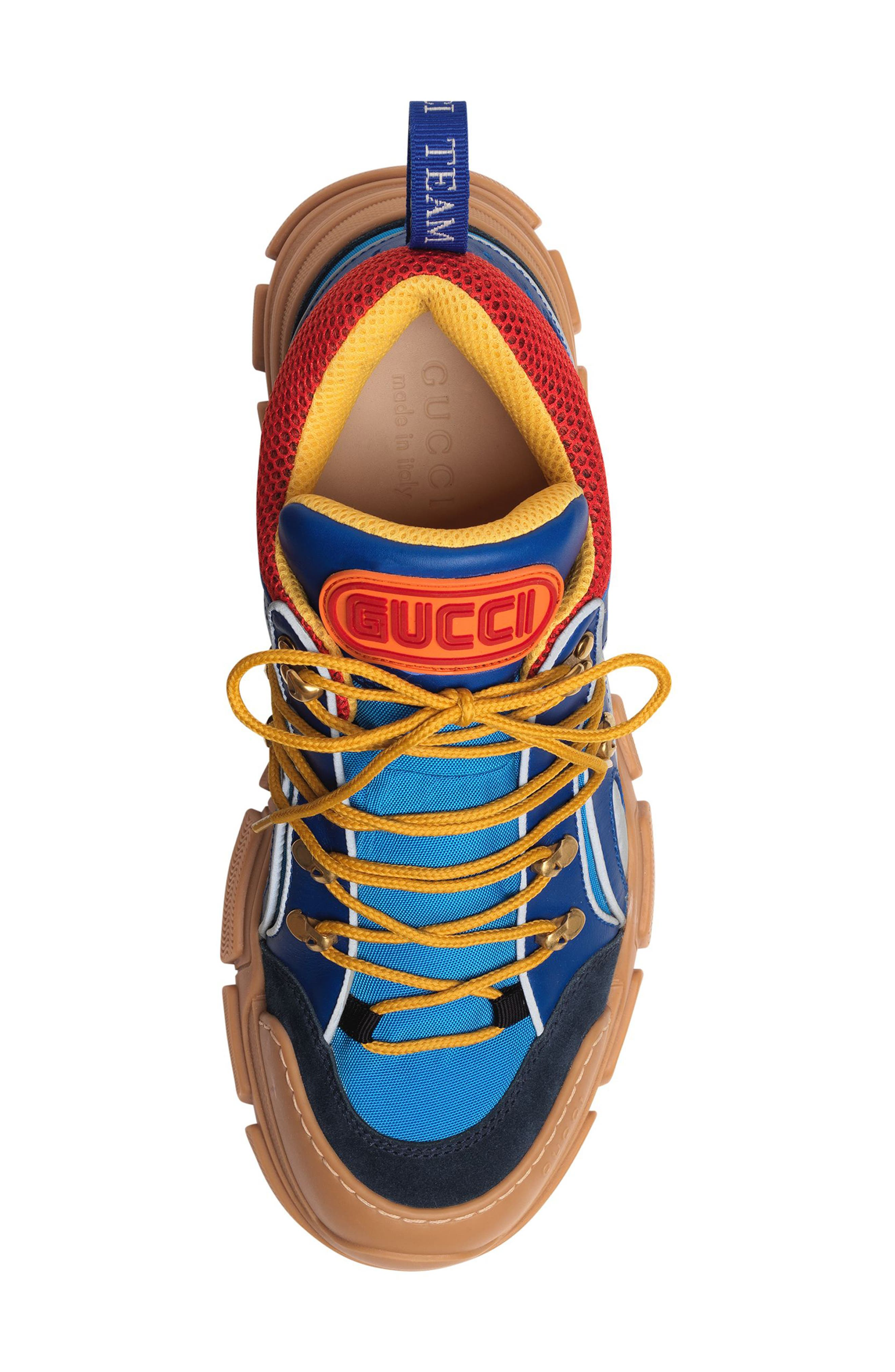 Leather and Canvas Sneaker,                             Alternate thumbnail 4, color,                             BLUE