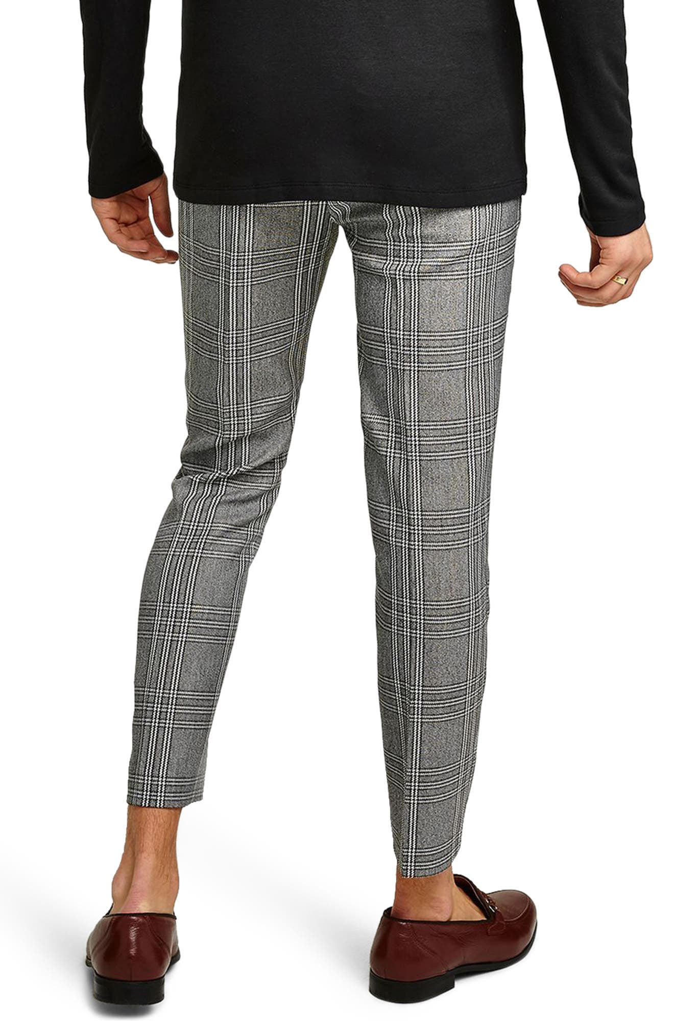 Skinny Fit Check Crop Trousers,                             Alternate thumbnail 2, color,                             020