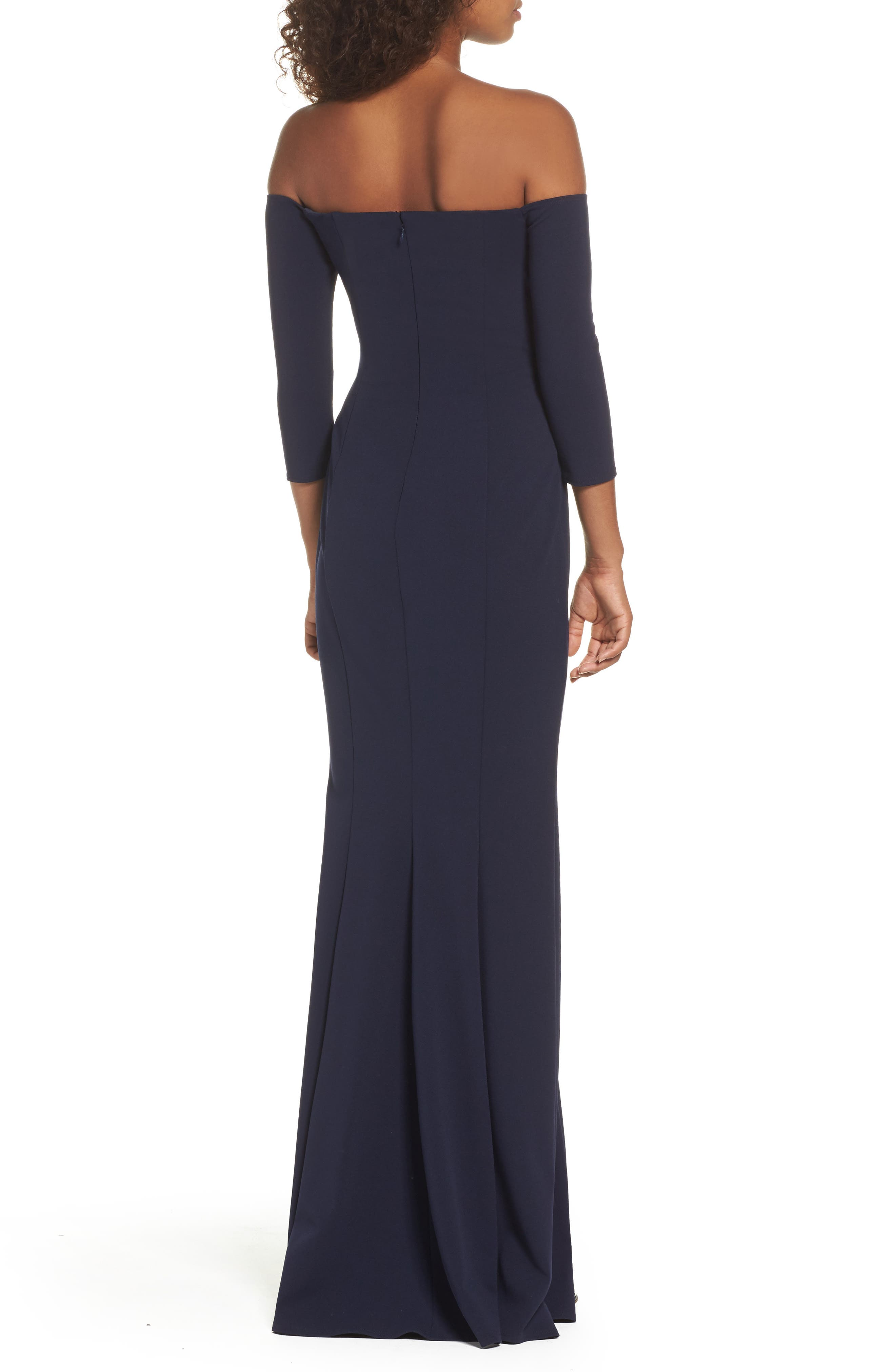 Brentwood Three-Quarter Sleeve Off the Shoulder Gown,                             Alternate thumbnail 2, color,                             NAVY