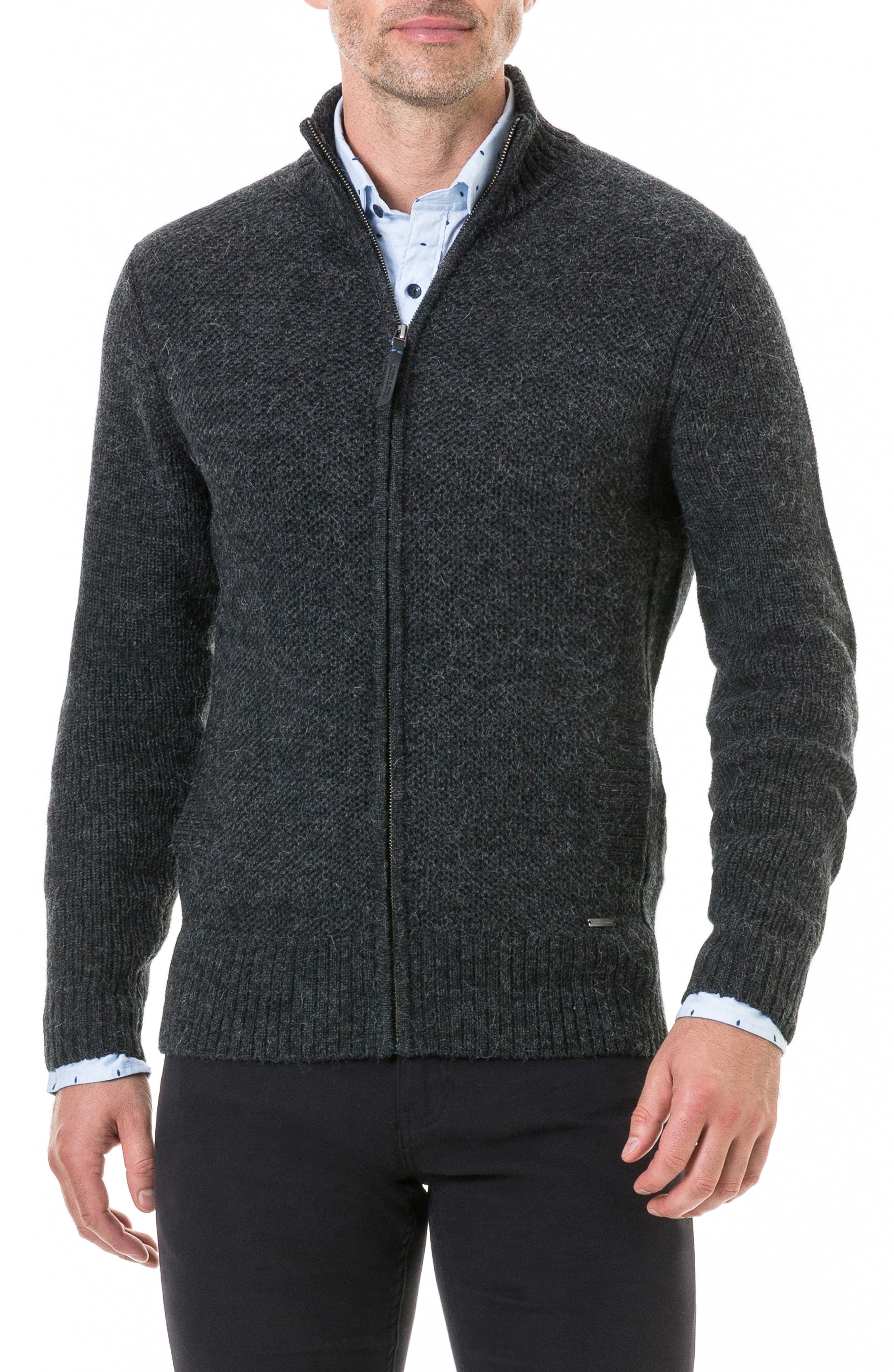 Bendrose Wool Blend Zip Cardigan,                             Main thumbnail 1, color,                             CHARCOAL