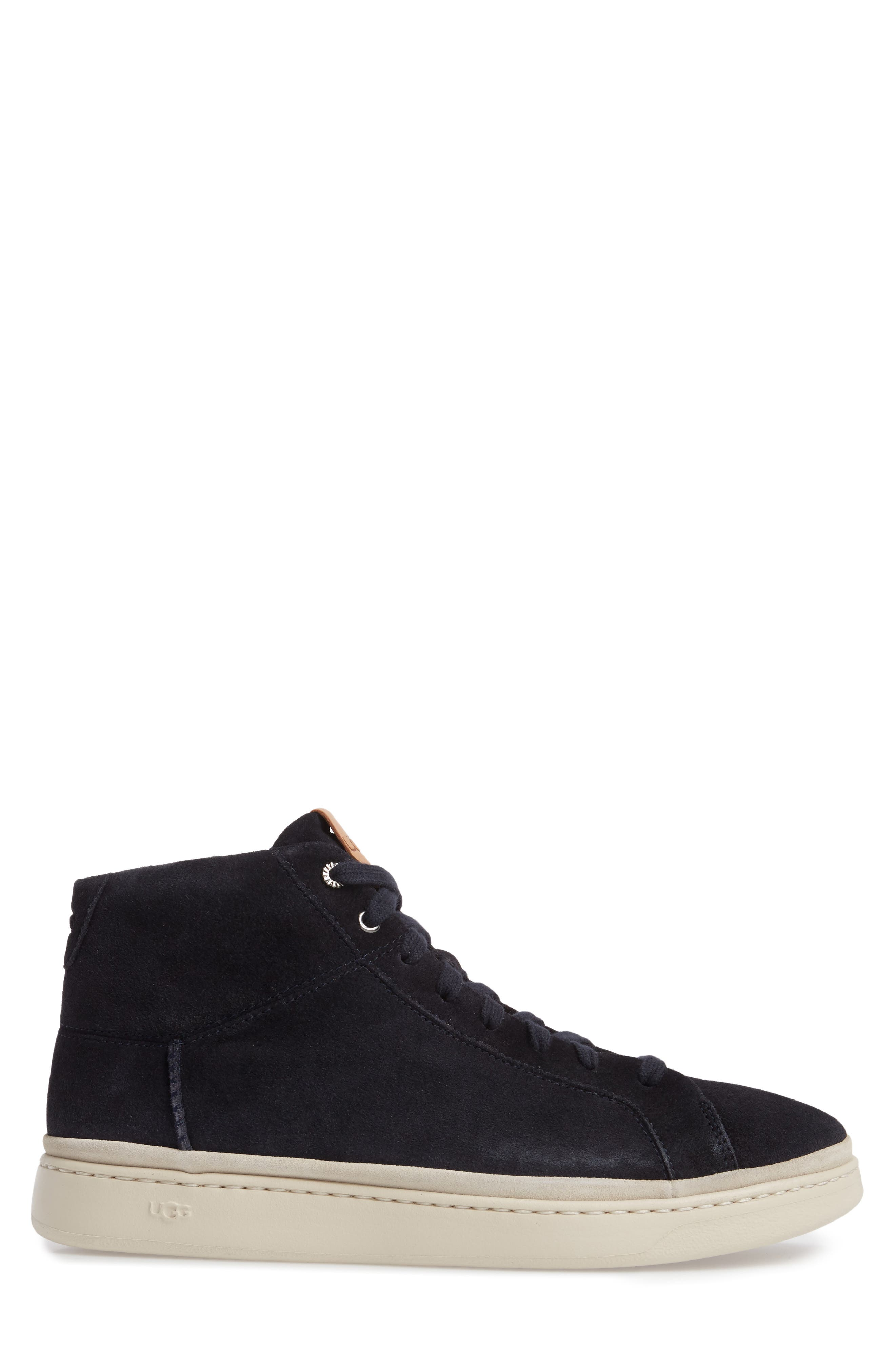 Cali High Top Sneaker,                             Alternate thumbnail 3, color,                             NAVY LEATHER
