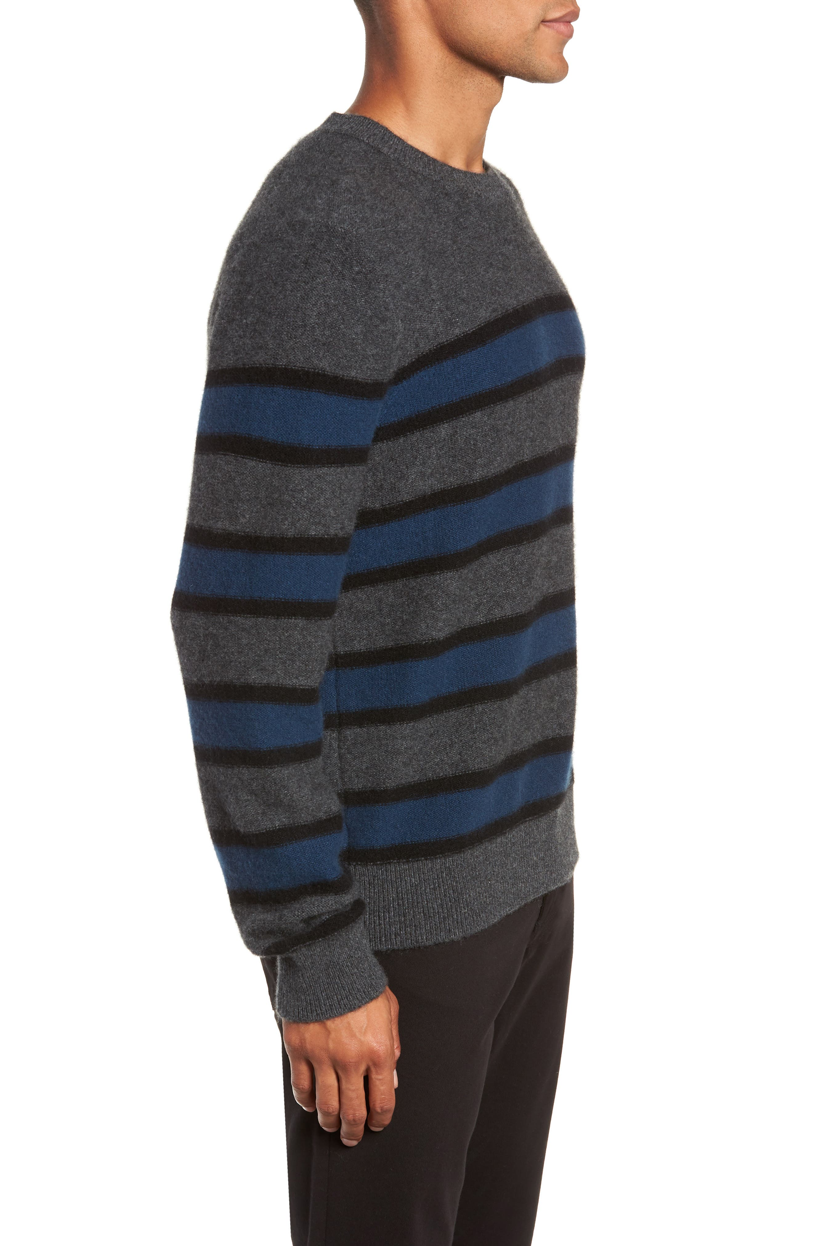 Regular Fit Stripe Cashmere Sweater,                             Alternate thumbnail 3, color,                             DARK HEATHER GREY/BLUE