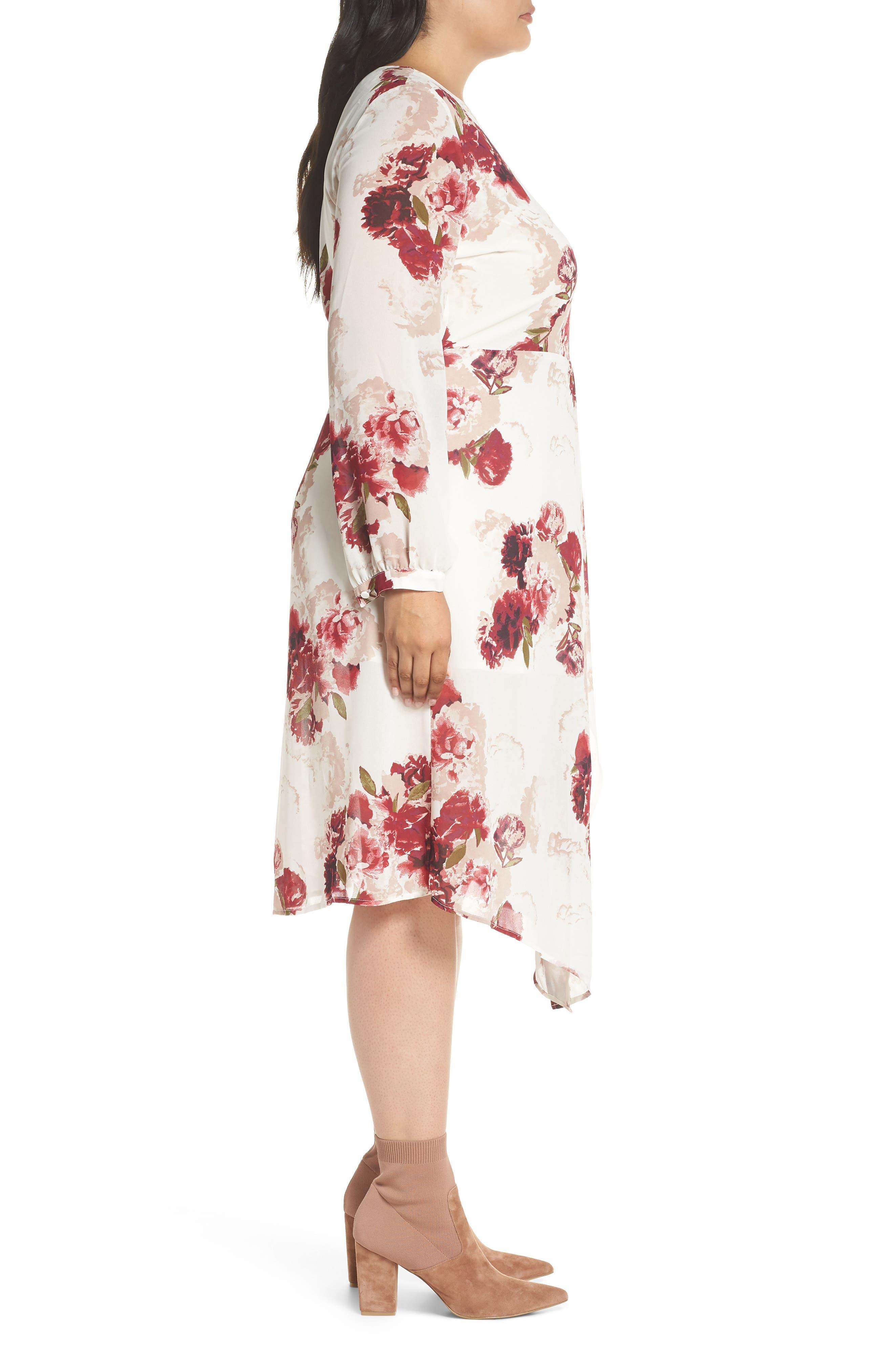 Floral Drape Dress,                             Alternate thumbnail 3, color,                             900