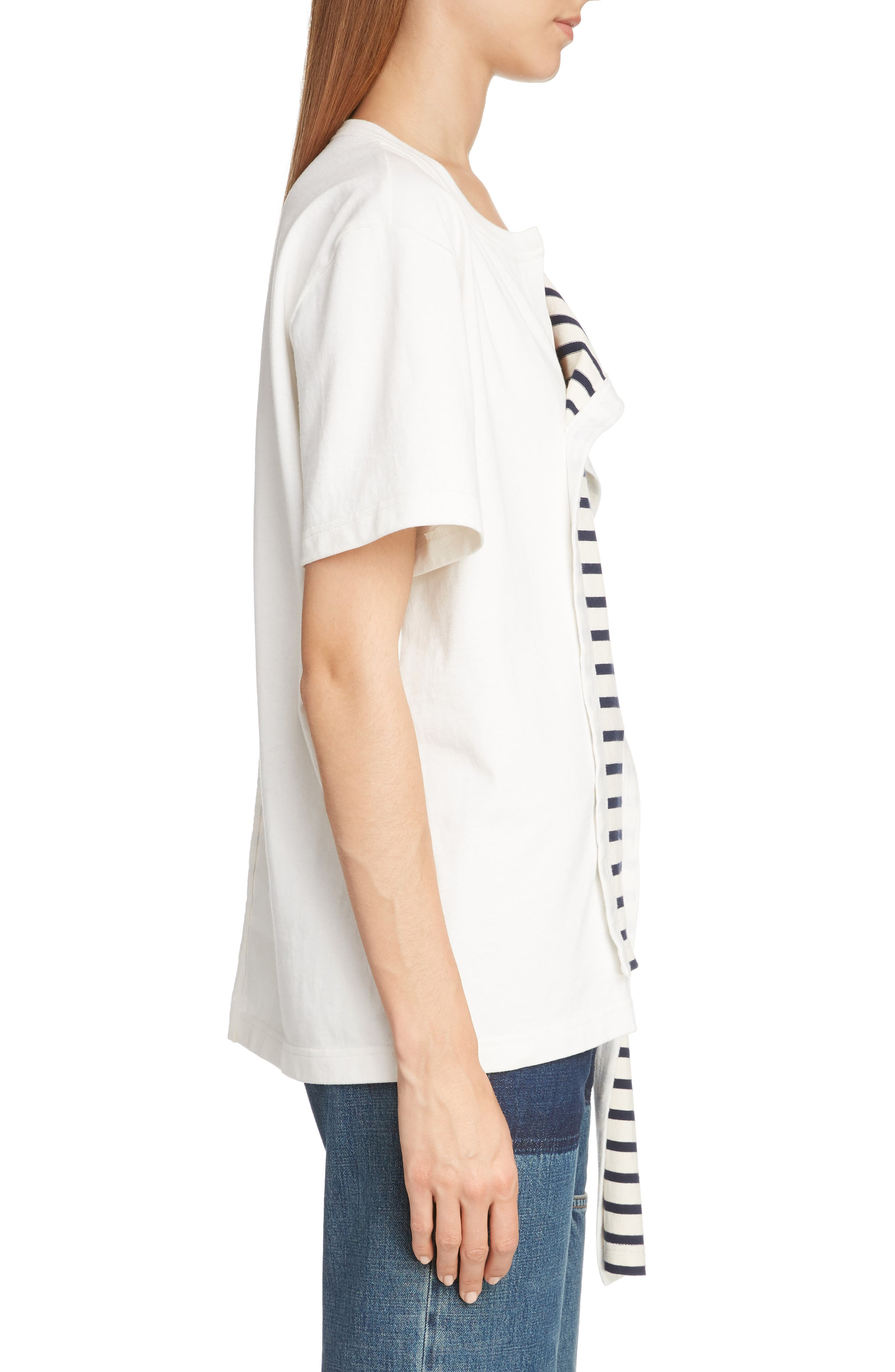 JW ANDERSON,                             Asymmetrical Draped Tee,                             Alternate thumbnail 3, color,                             IVORY