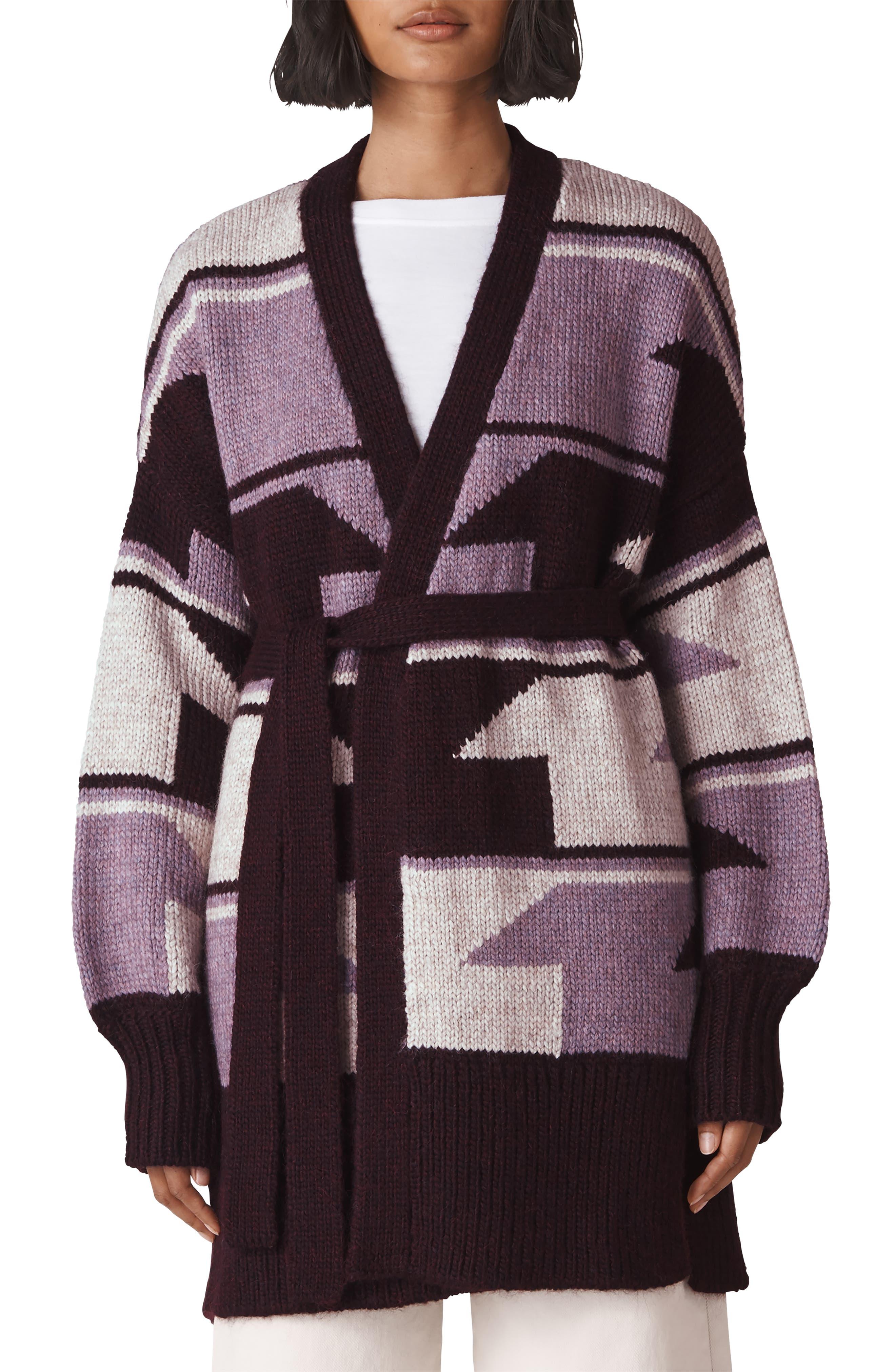 Intarsia Wrap Cardigan,                         Main,                         color, MULTICOLOUR
