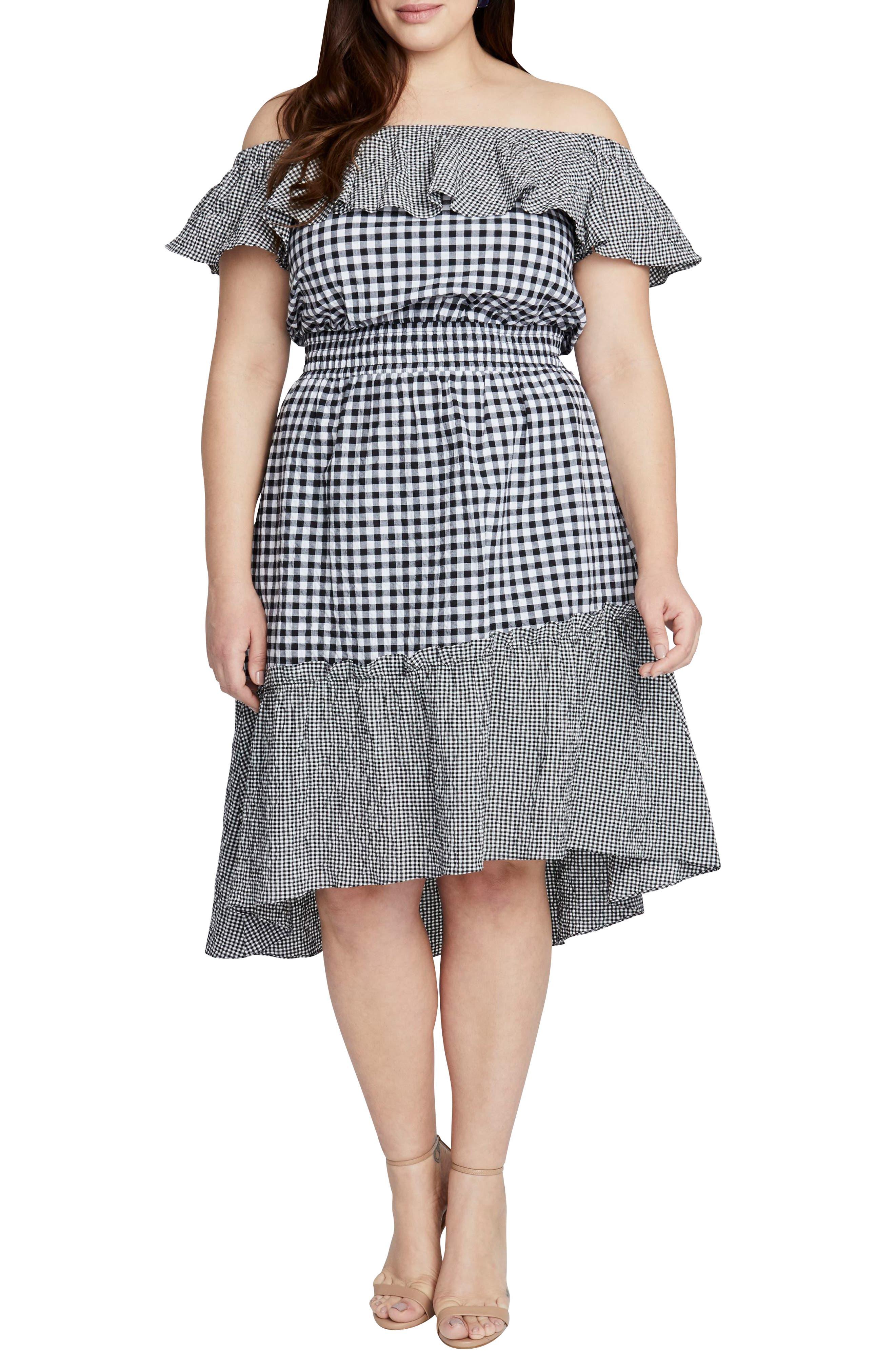 Plus Size Rachel Rachel Roy Ava Gingham Off The Shoulder Dress, Black