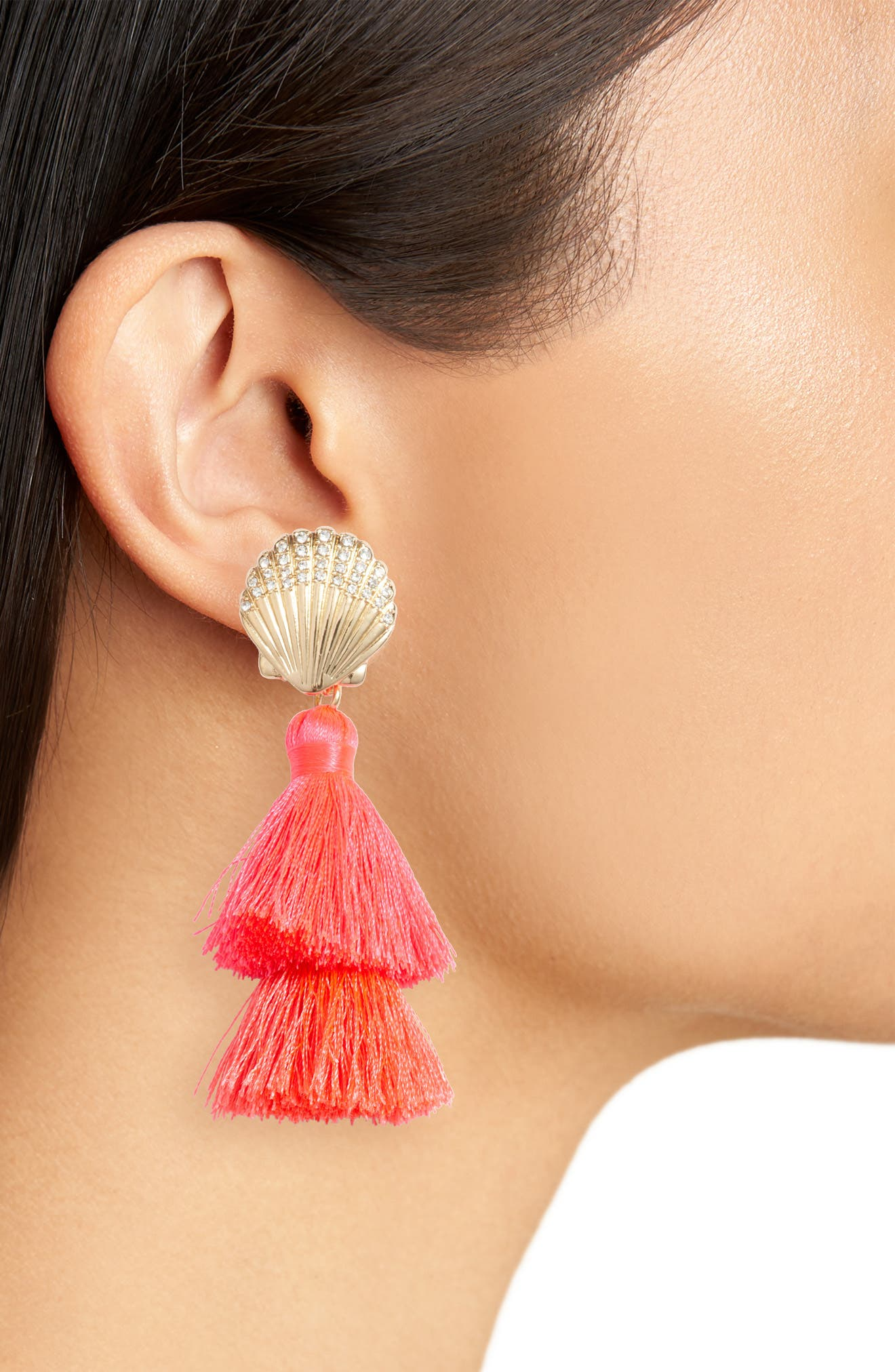 Lilly Pulitzer Shell Yeah Tassel Earrings,                             Alternate thumbnail 2, color,                             COSMIC CORAL