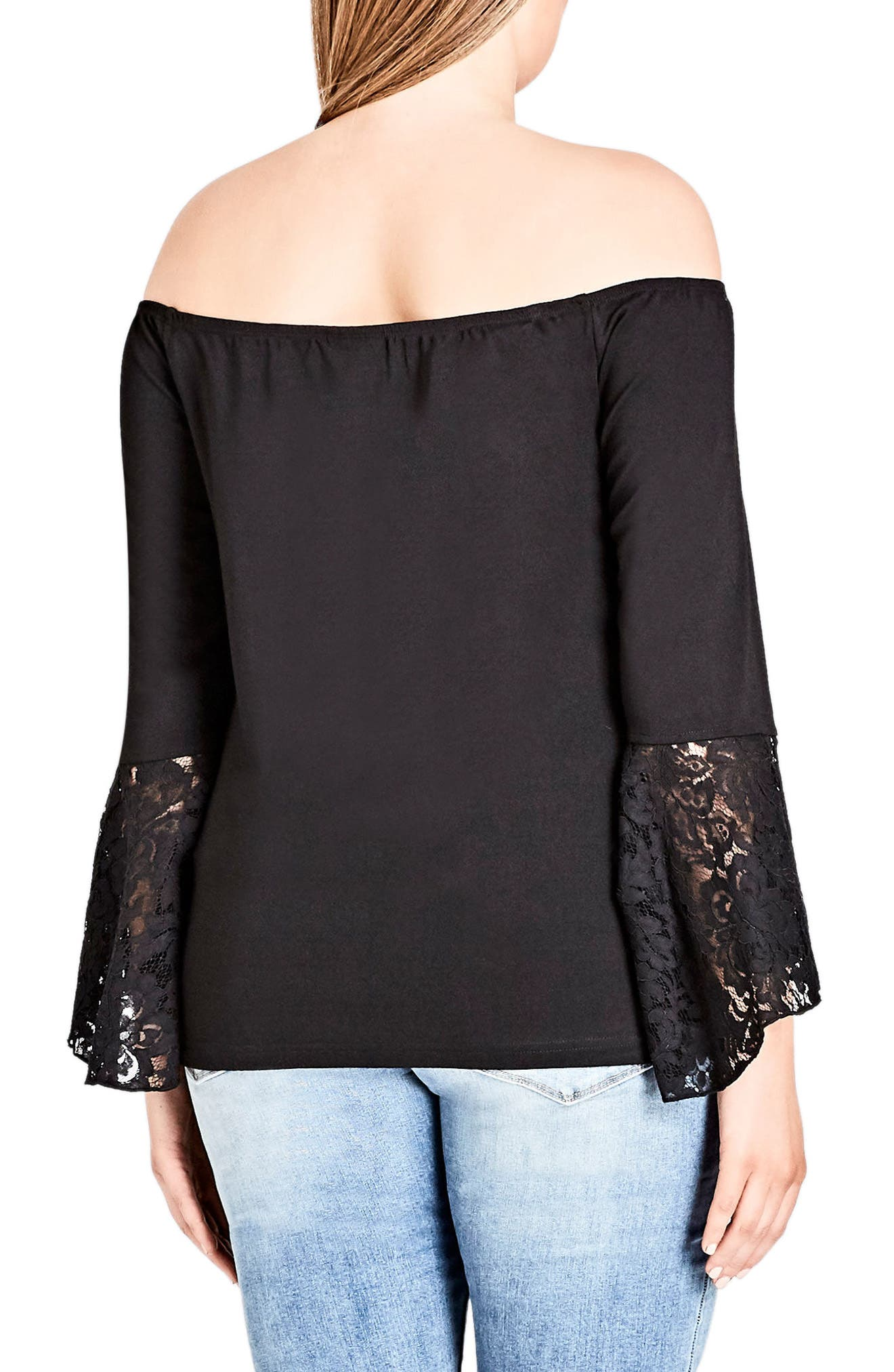 Lace Bell Sleeve Off the Shoulder Top,                             Alternate thumbnail 2, color,                             001