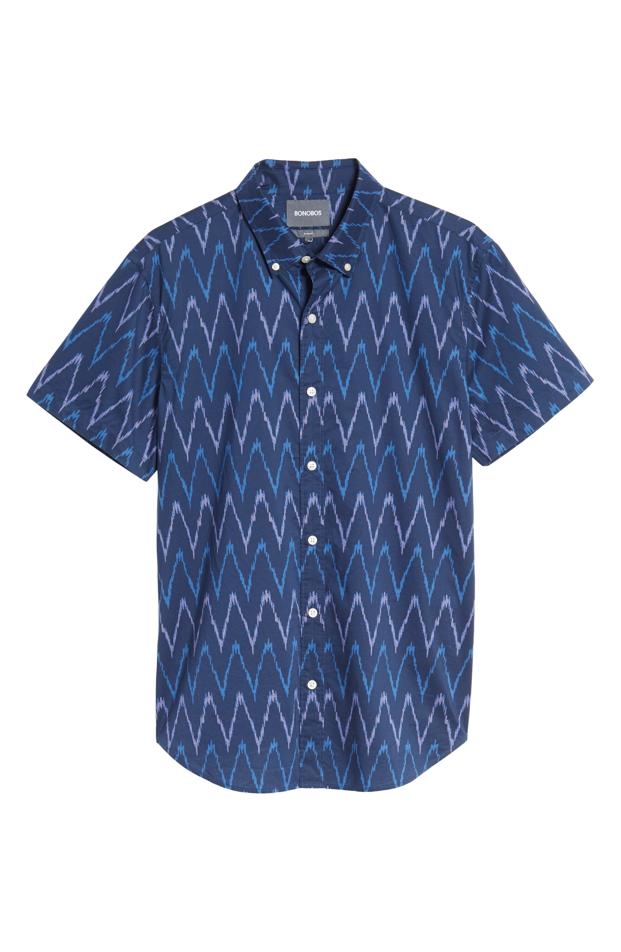 Riviera Slim Fit Ikat Print Sport Shirt,                             Alternate thumbnail 6, color,                             PRINTED IKAT - DEEP PACIFIC