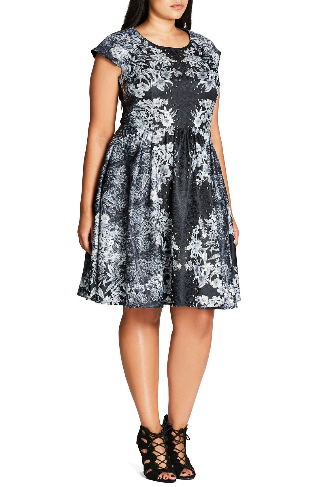 'Femme Royale' Fit & Flare Dress,                             Alternate thumbnail 6, color,