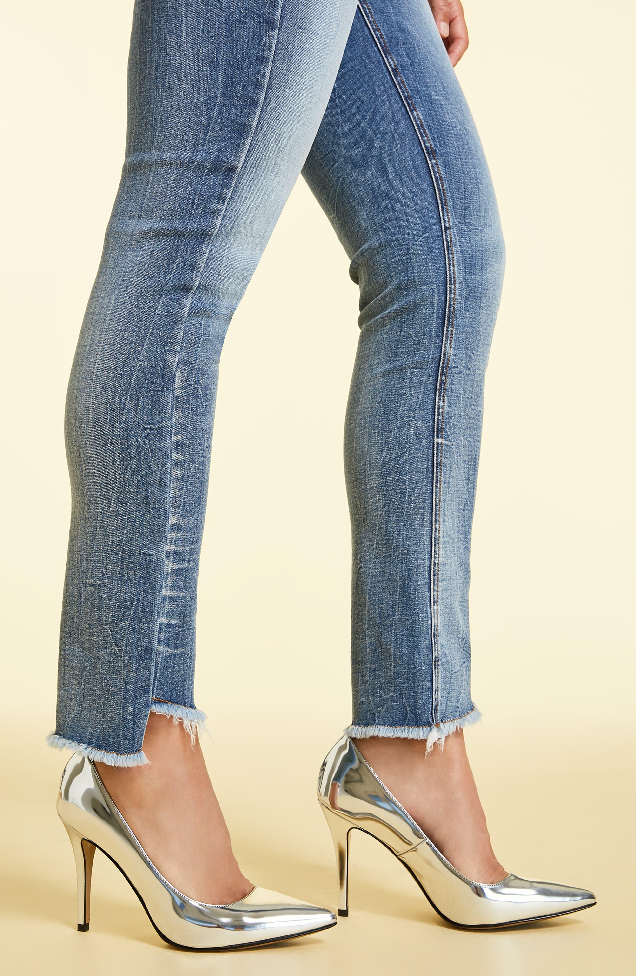 Ideale Step Raw Hem Jeans,                             Alternate thumbnail 4, color,                             400