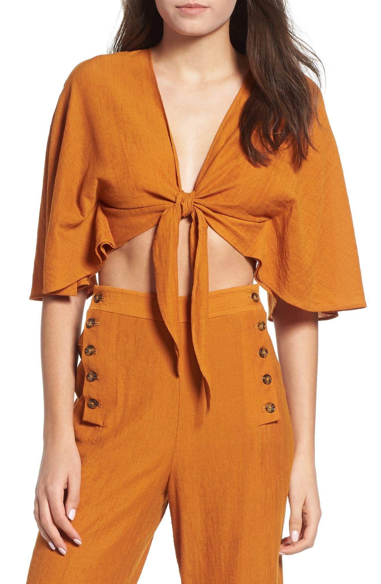 Amelie Tie Front Crop Top,                         Main,                         color, PUMPKIN SPICE