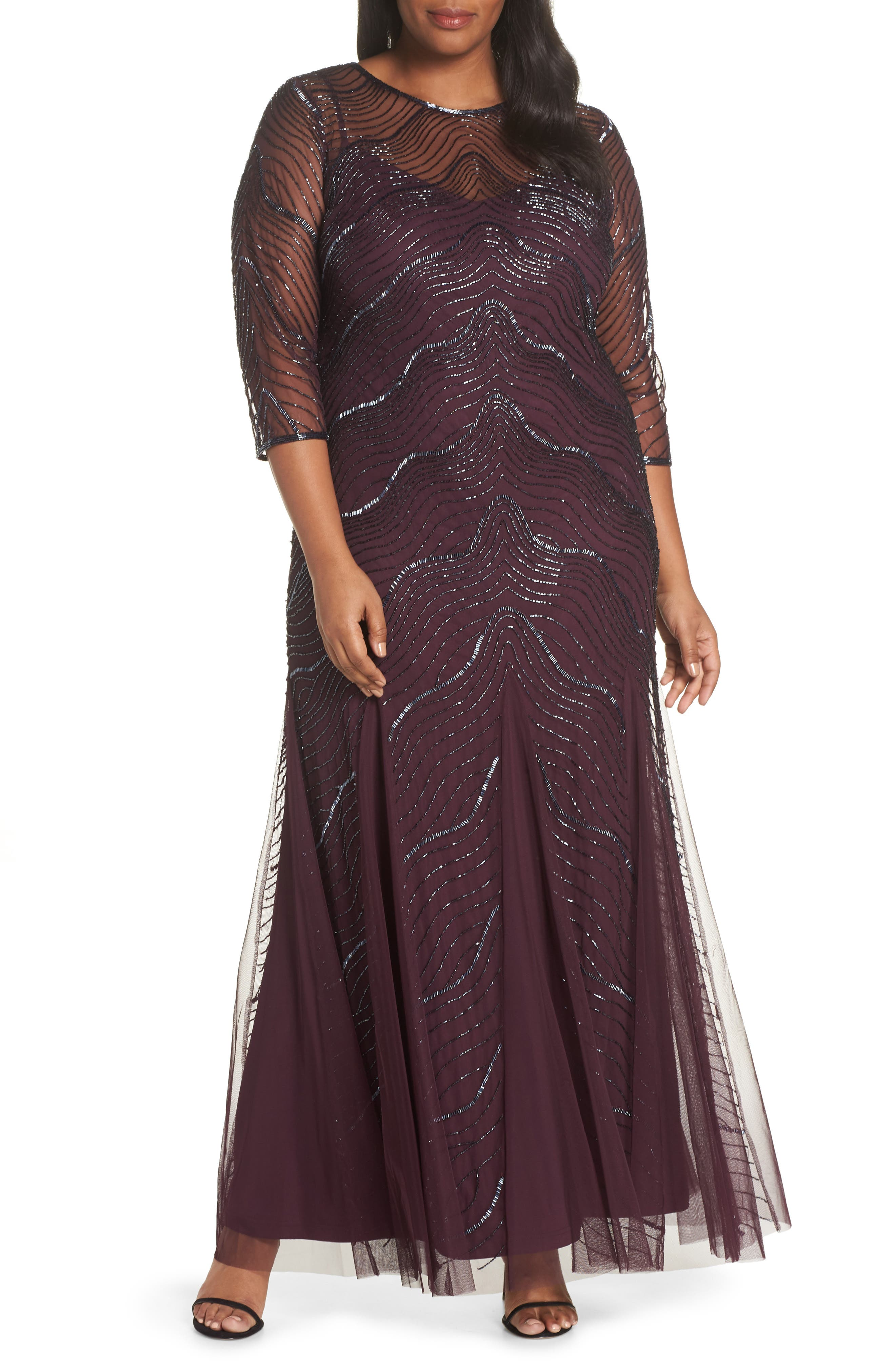 Deco Beaded Godet Gown, Main, color, 500