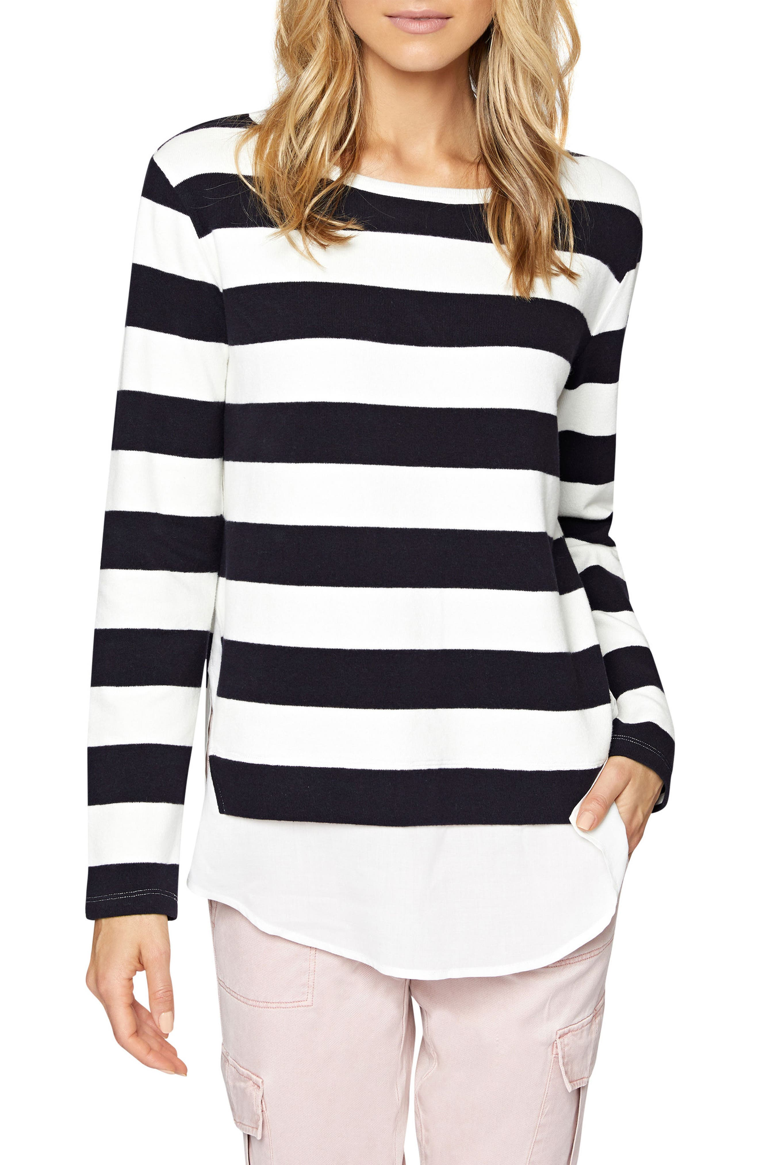 Layered Look Stripe Sweater,                             Main thumbnail 1, color,                             496