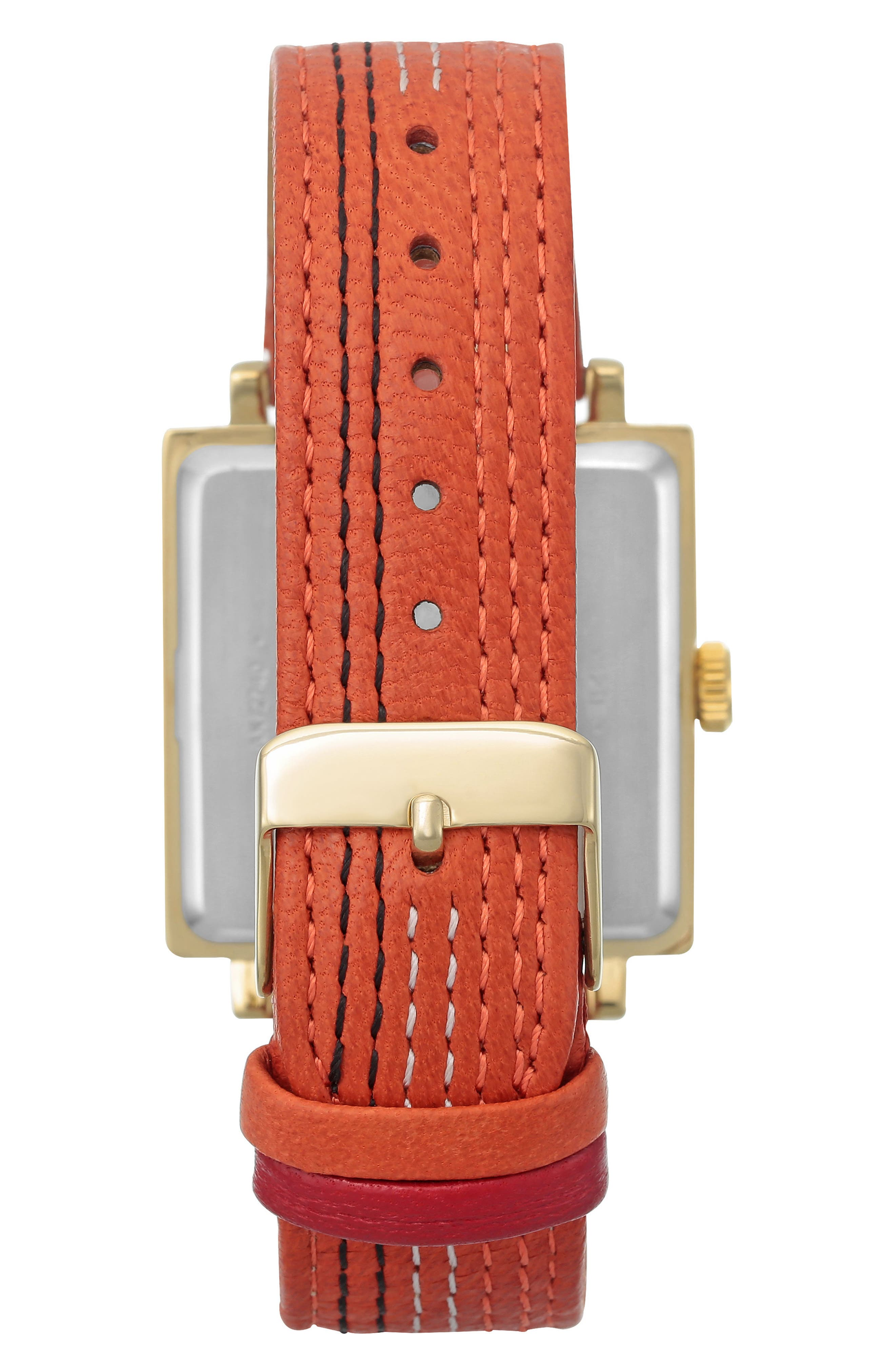 Square Leather Strap Watch, 42mm x 34mm,                             Alternate thumbnail 6, color,