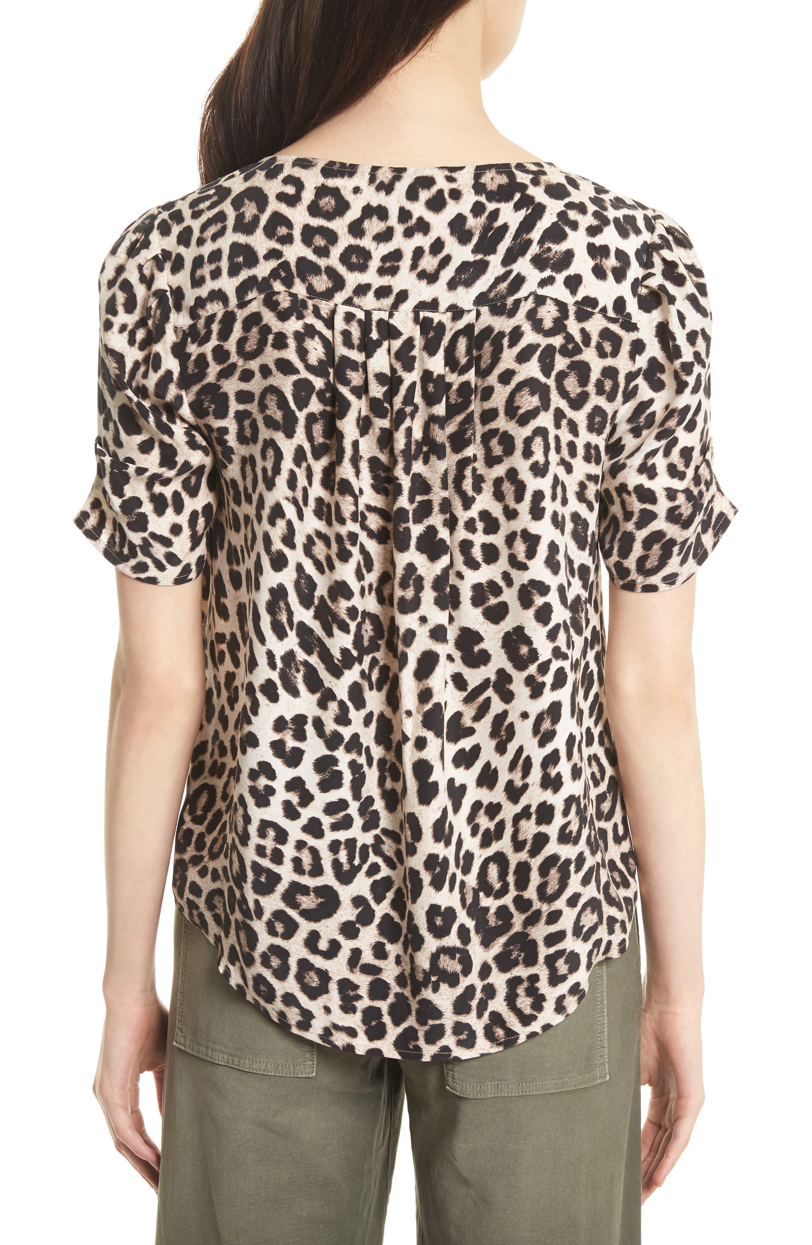 Amone Leopard Print Silk Top,                             Alternate thumbnail 2, color,