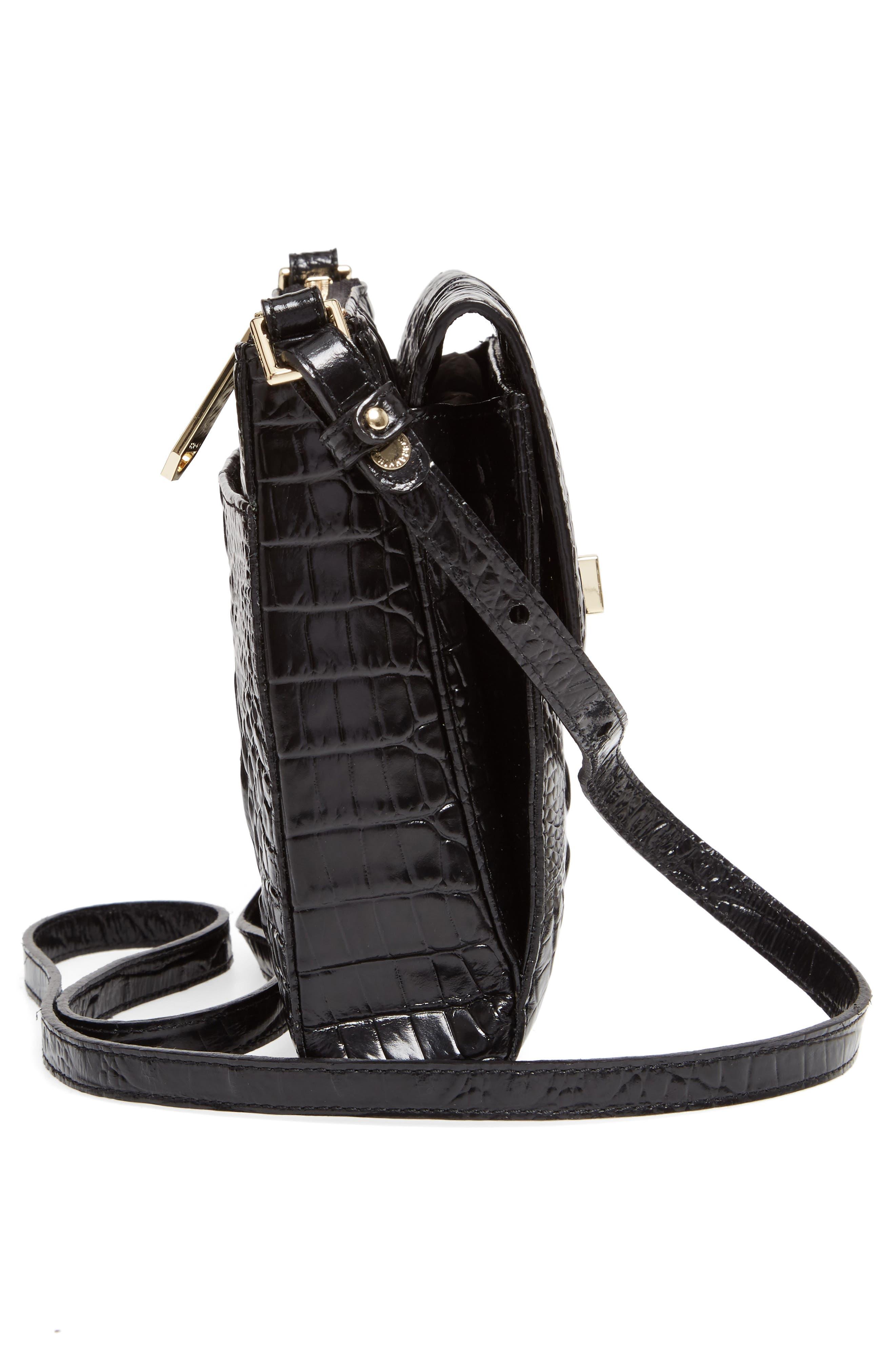 Melbourne Manhattan Croc Embossed Leather Crossbody Bag,                             Alternate thumbnail 5, color,                             BLACK