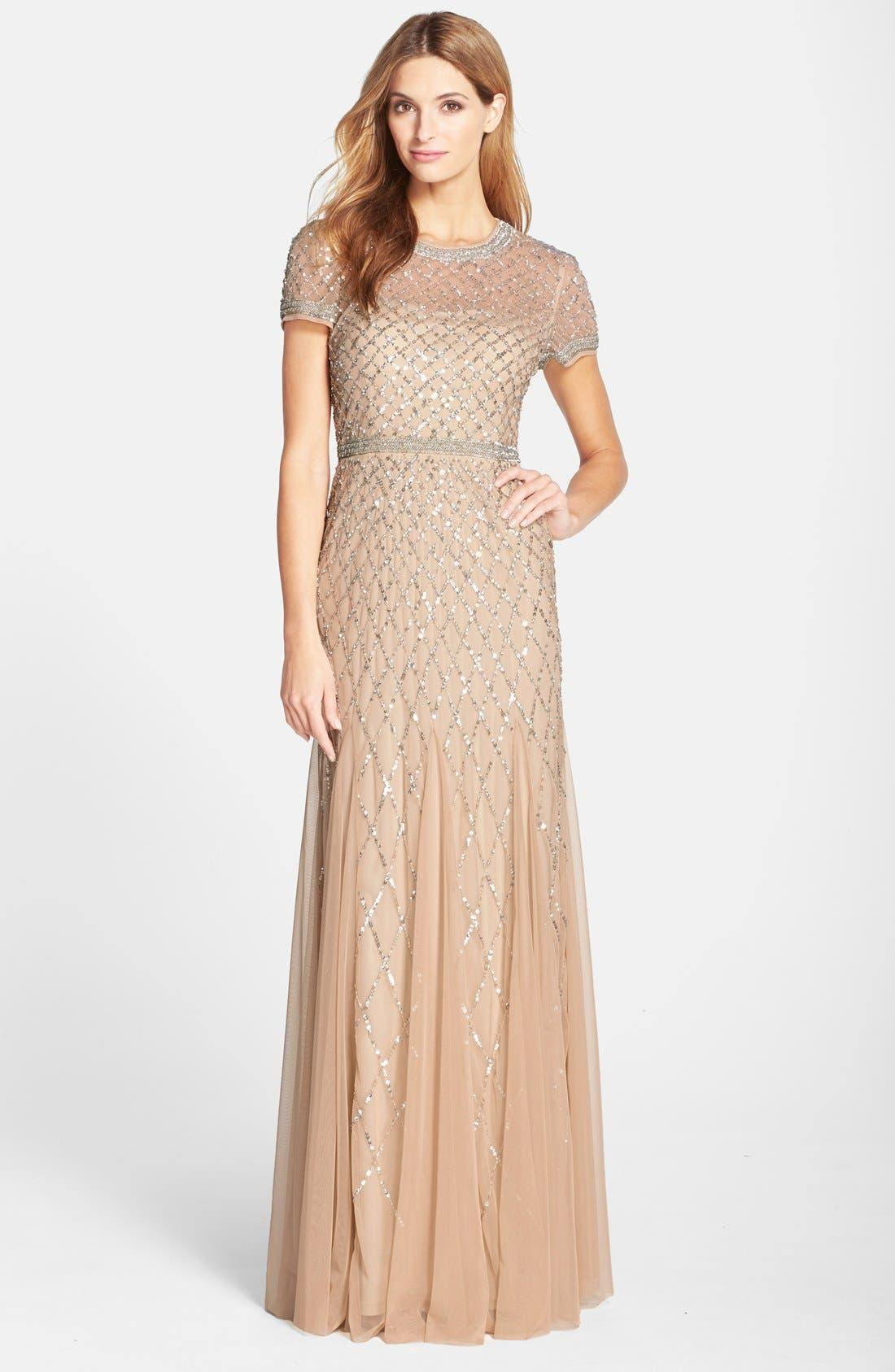 Beaded Mesh Gown,                             Main thumbnail 2, color,