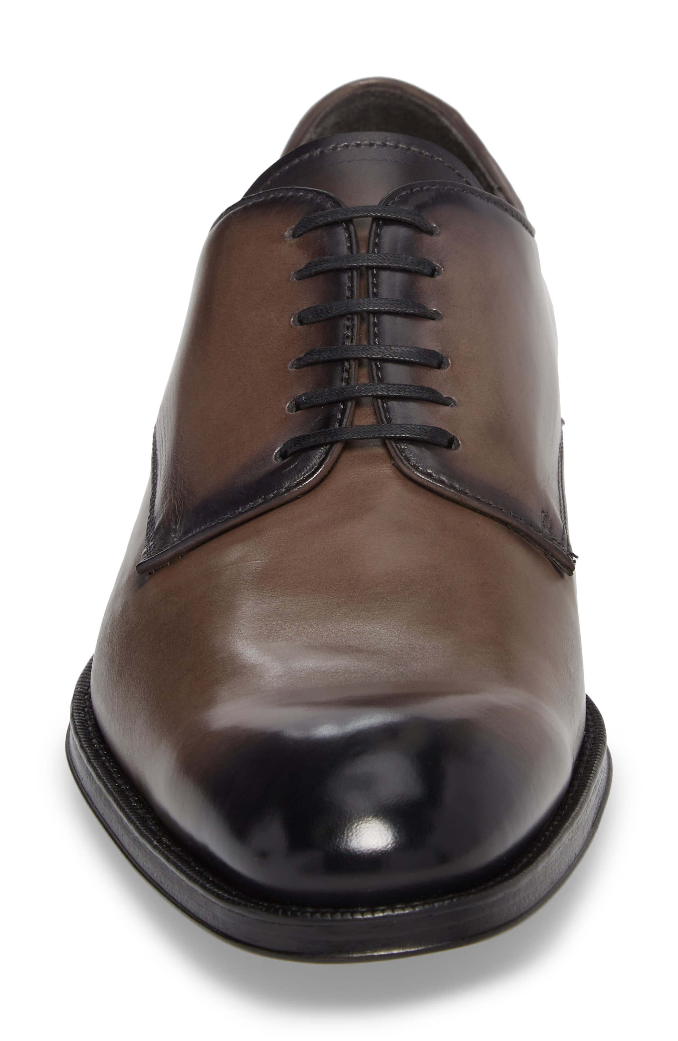 Academy Plain Toe Derby,                             Alternate thumbnail 4, color,                             GREY LEATHER