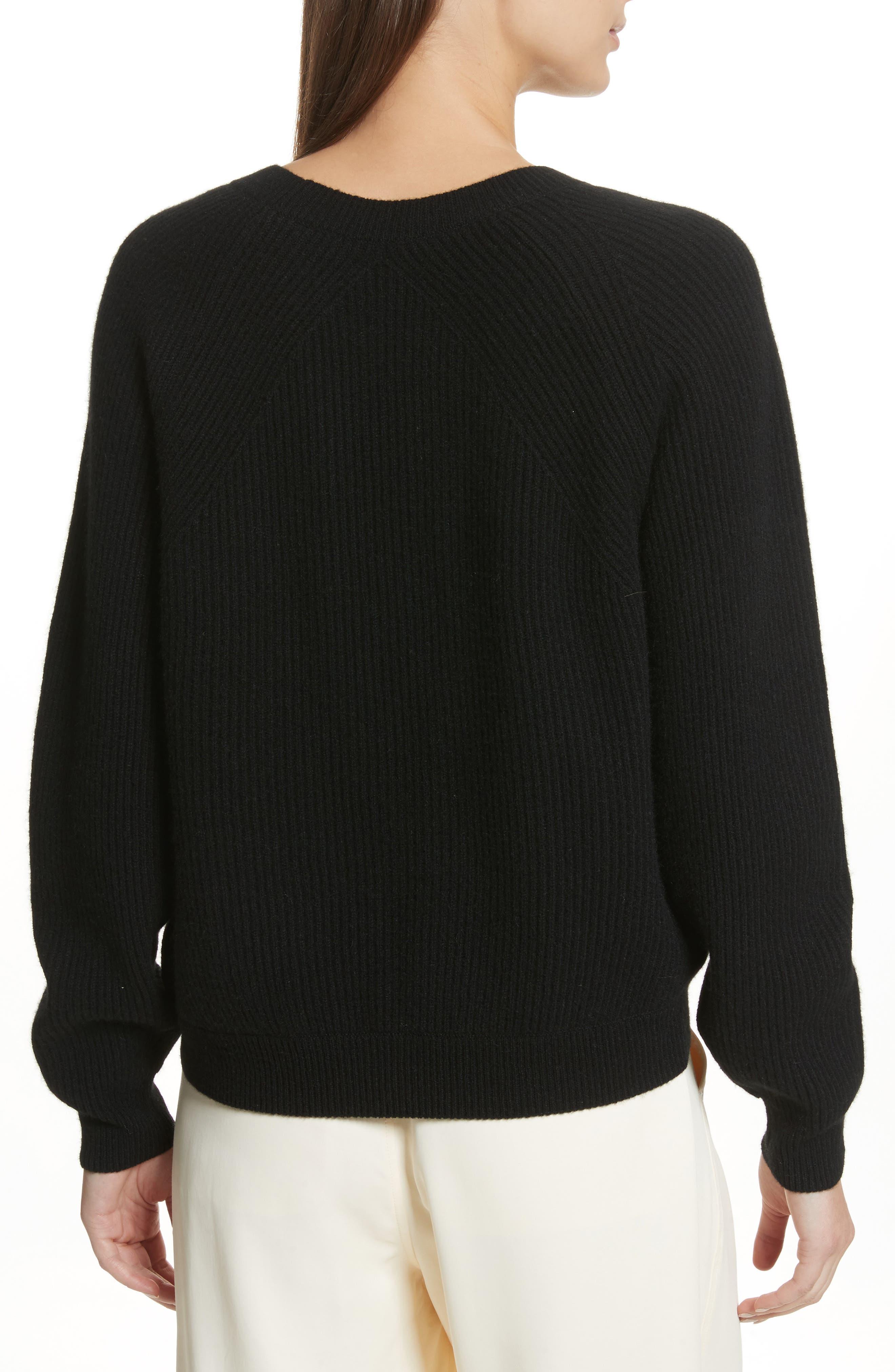 Diagonal Rib Wool & Cashmere Sweater,                             Alternate thumbnail 2, color,                             001