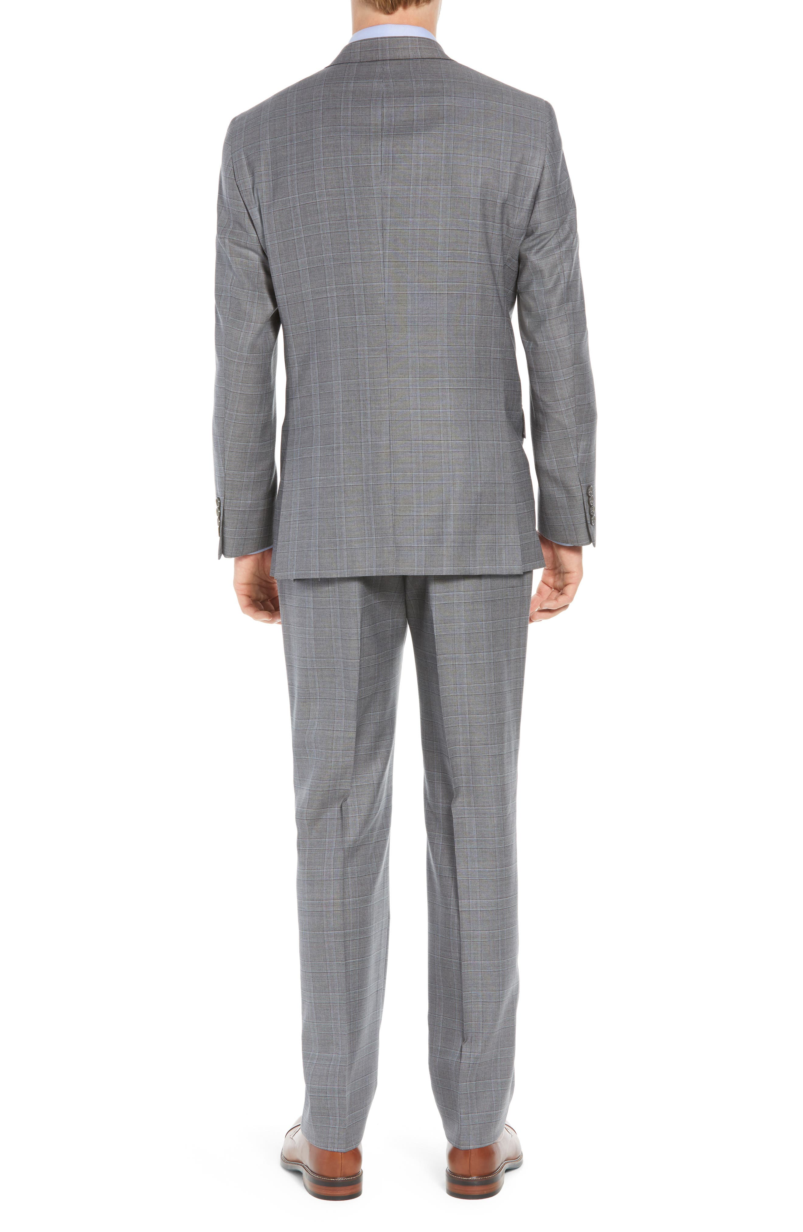 New York Classic Fit Plaid Wool Suit,                             Alternate thumbnail 2, color,                             MID GREY