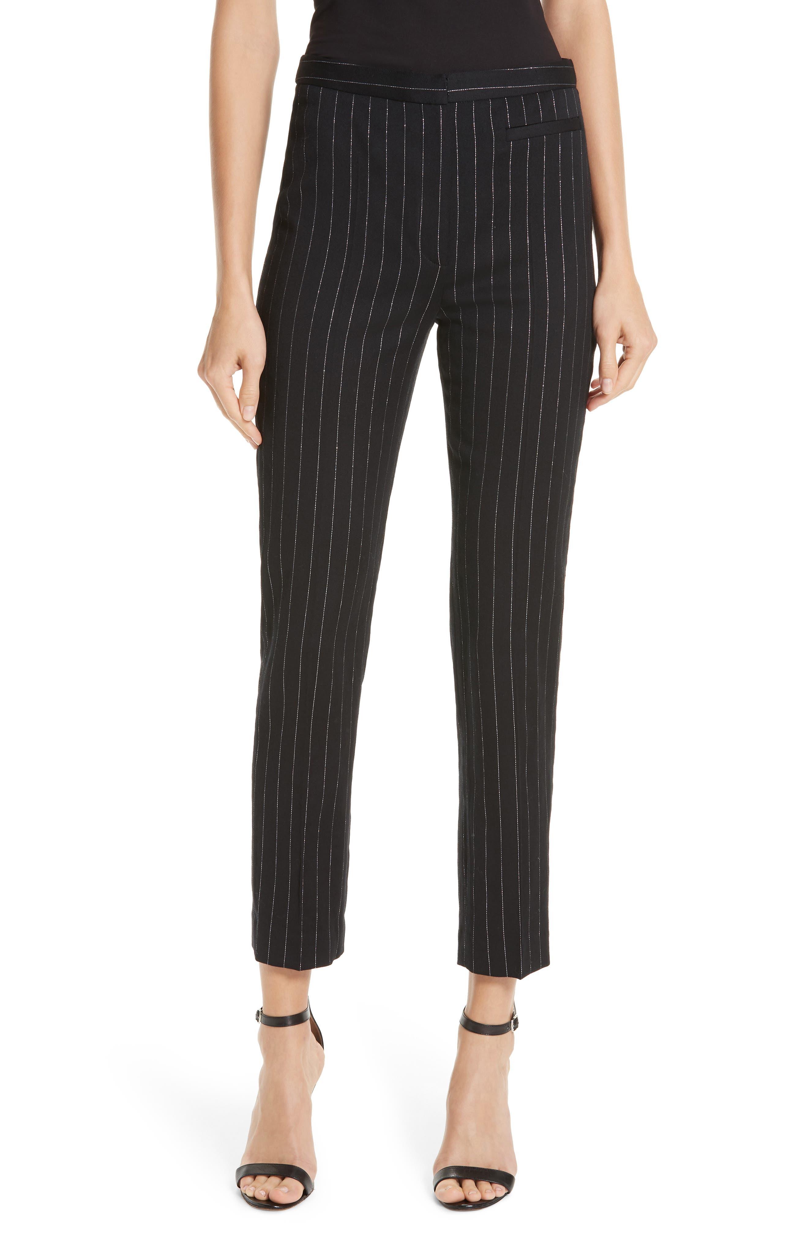 Metallic Pinstripe High Waist Skinny Wool Pants, Main, color, BLACK