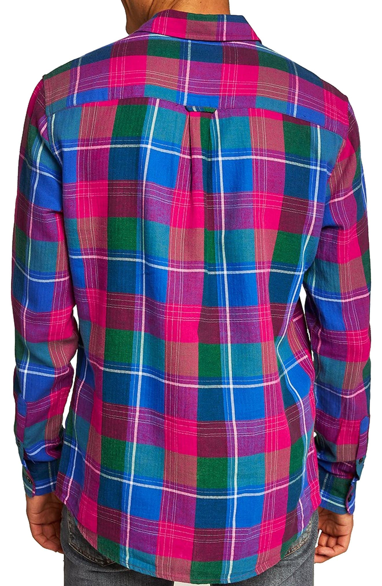 Checked Classic Fit Shirt,                             Alternate thumbnail 3, color,                             PINK MULTI