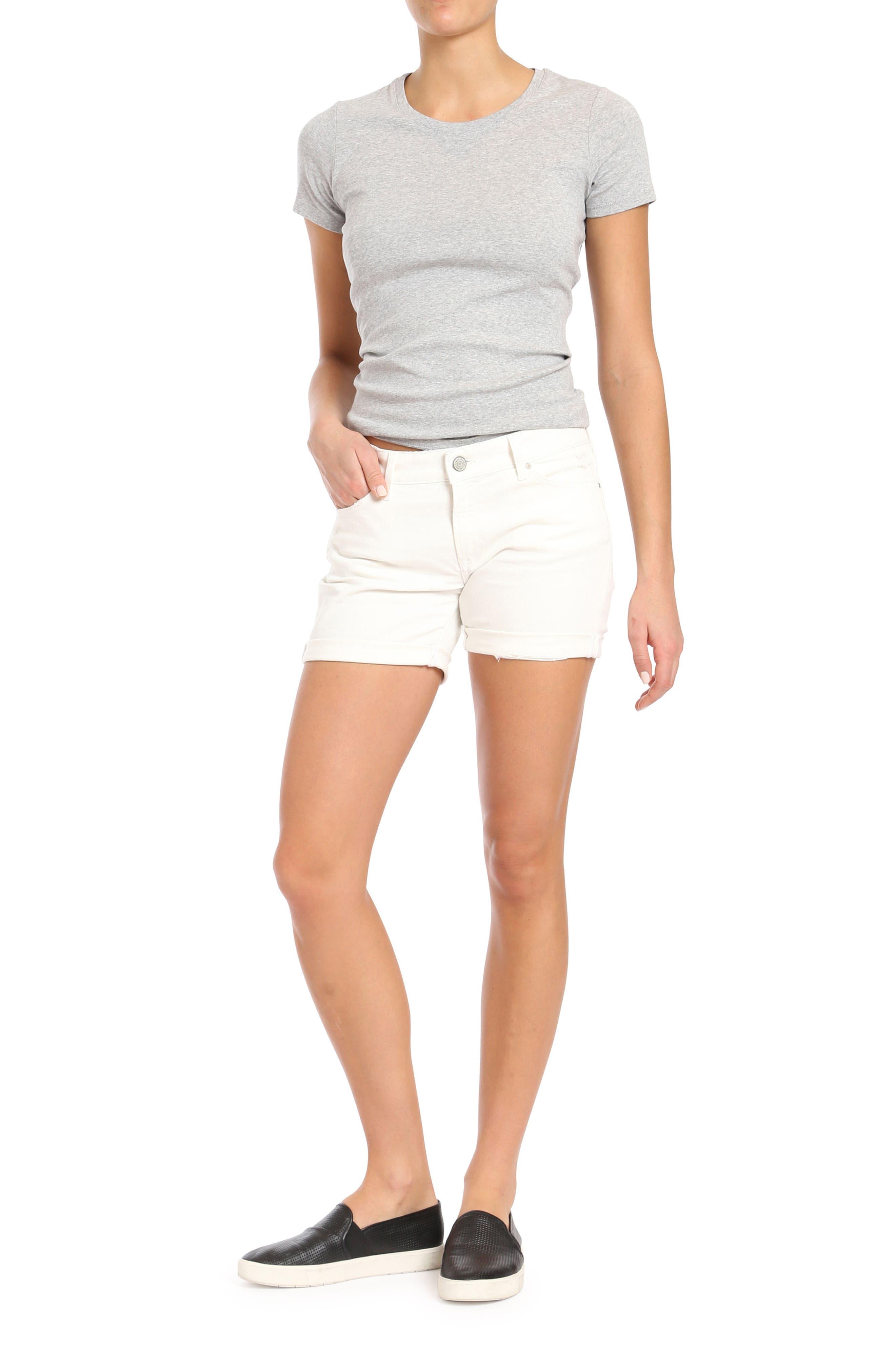 Pixie Ripped Denim Shorts,                             Alternate thumbnail 5, color,                             WHITE RIPPED NOLITA