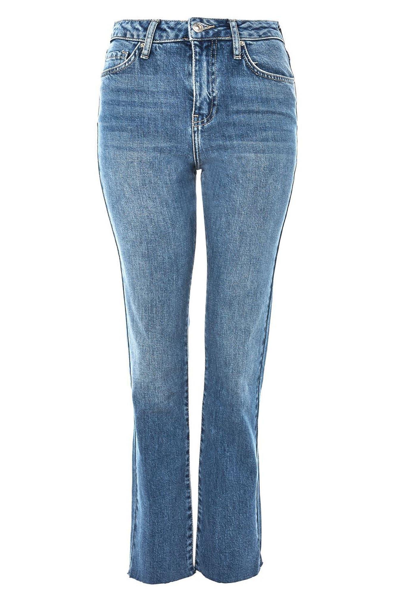 Dree Raw Hem Crop Flare Jeans,                             Alternate thumbnail 3, color,                             400