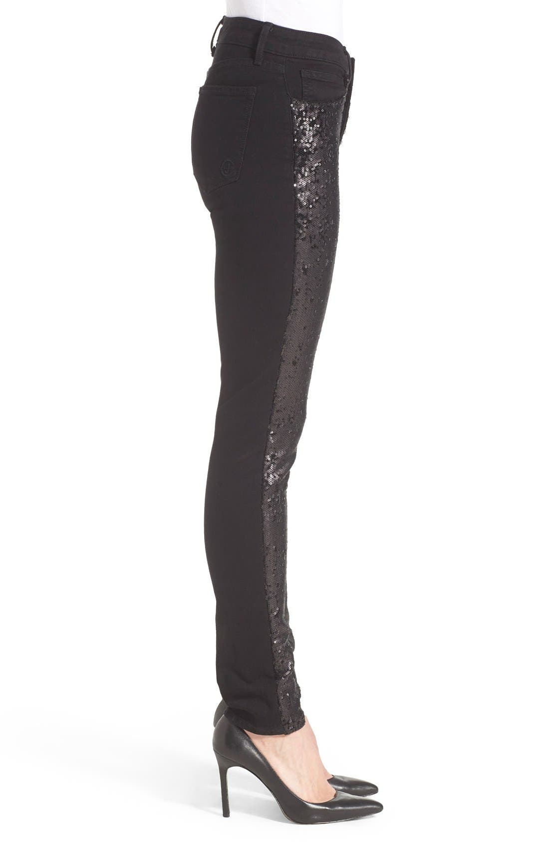 'Peace' Sequin Front Skinny Jeans,                             Alternate thumbnail 4, color,                             002