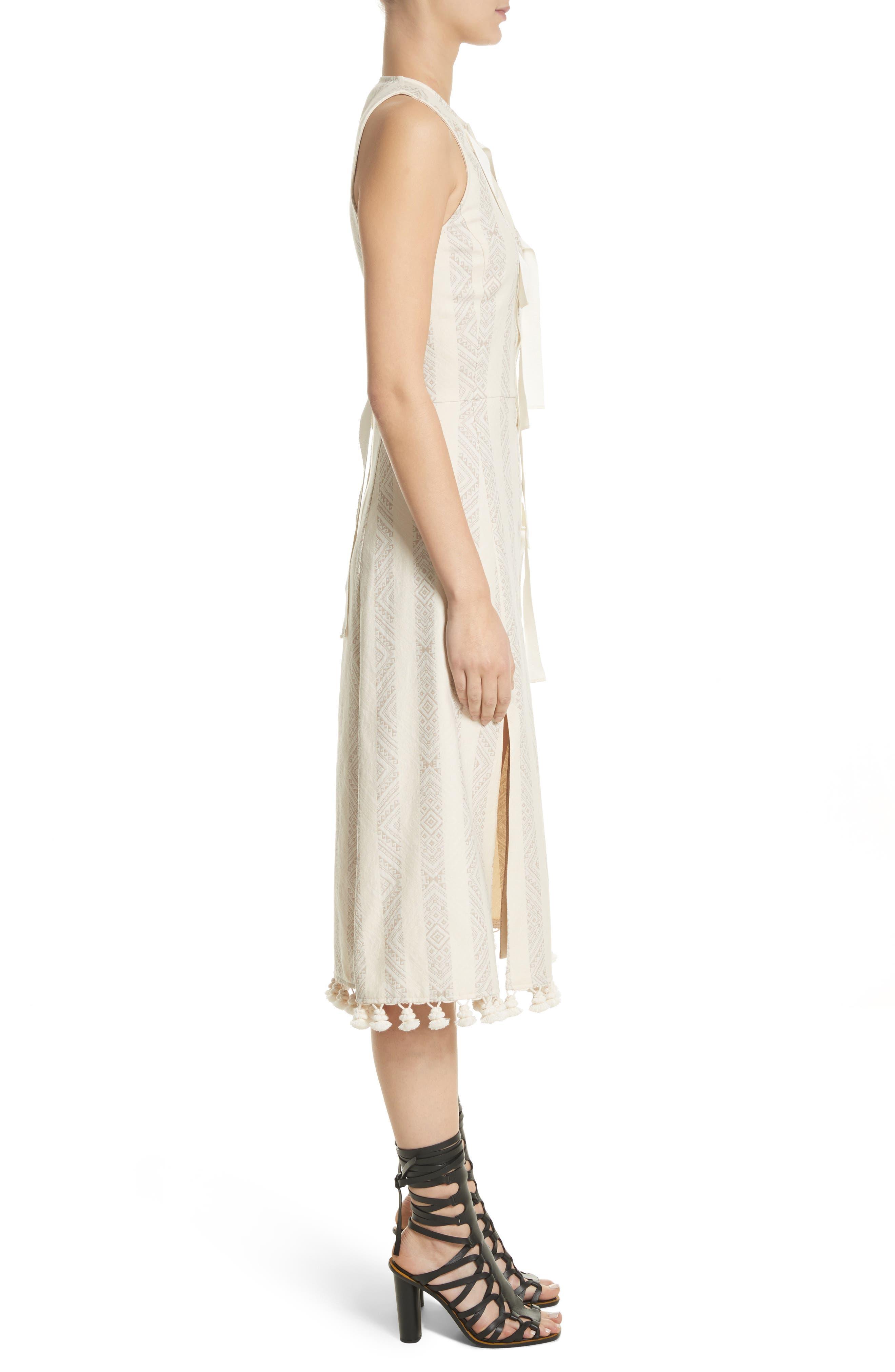 Grosgrain Tie Stripe Dress,                             Alternate thumbnail 3, color,                             106