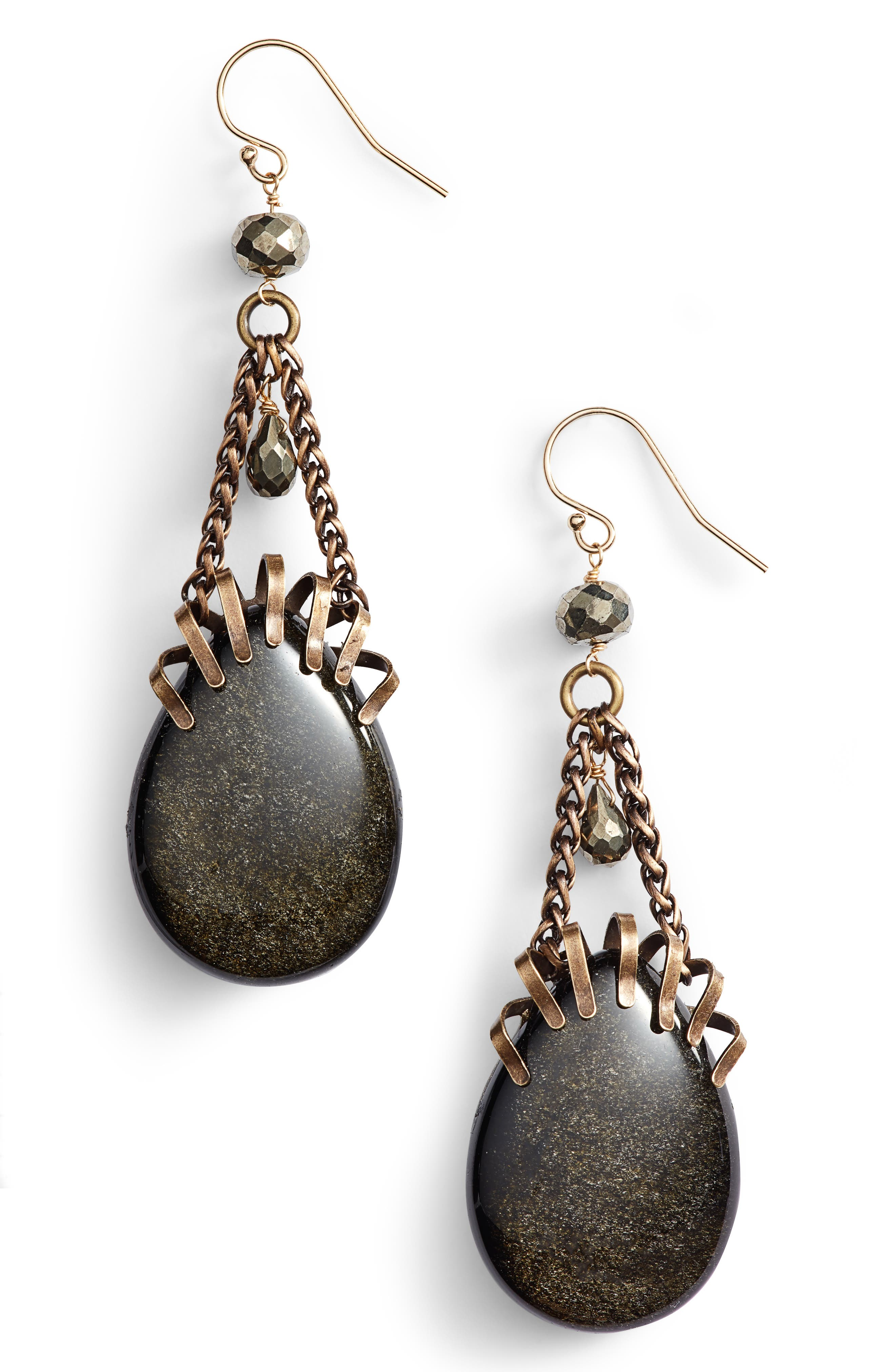 Pyrite Drop Earrings,                         Main,                         color, GOLD