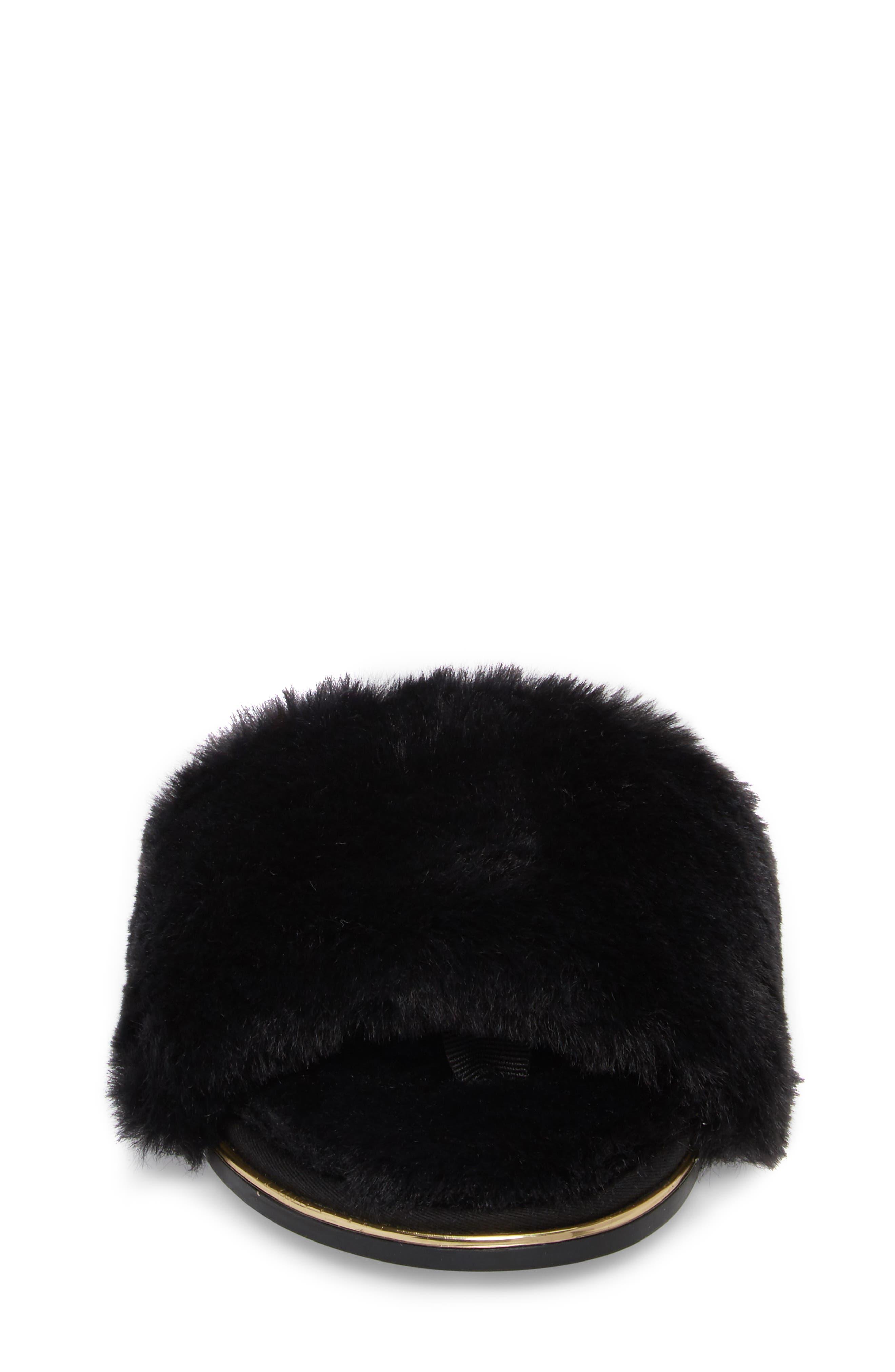 Rose Faux Fur Slide Sandal,                             Alternate thumbnail 4, color,                             BLACK FAUX FUR